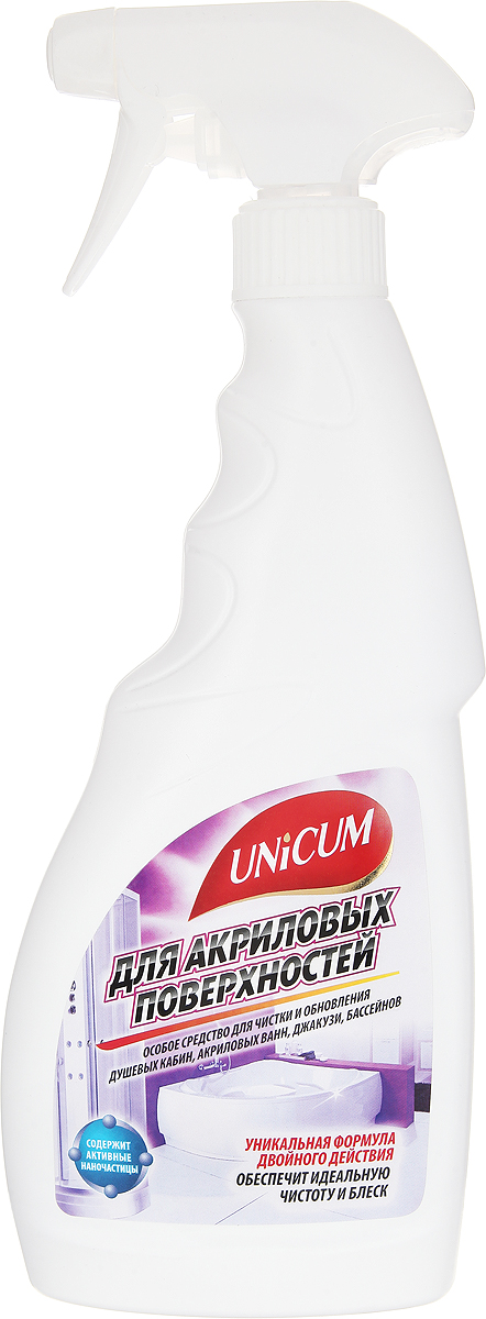 """Высокоэффективное средство """"Unicum"""" для чистки   и обновления акриловых и пластиковых ванн,   душевых кабин, джакузи и бассейнов. Средство   бережно очищает полимерные покрытия, удаляя   следы мыла, отложения солей жесткости, ржавчину,   плесень и грибок, придает блеск и оставляет   защитный нанослой, препятствующий   последующим загрязнениям.     Состав: подготовленная вода,   органические кислоты 5-15%, минеральные   кислоты 5-15%, АПАВ   Товар сертифицирован.      Как выбрать качественную бытовую химию, безопасную для природы и людей. Статья OZON Гид"""