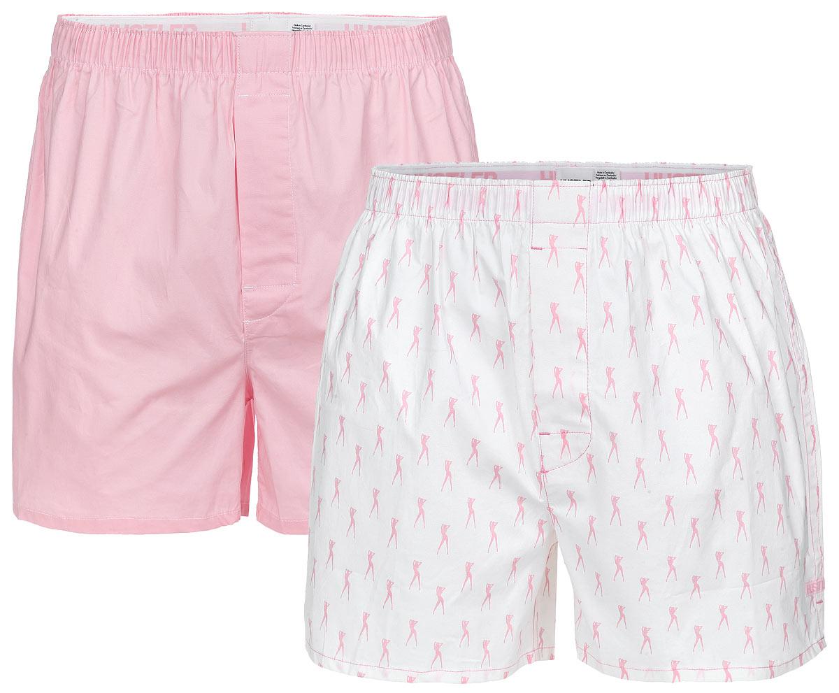 Трусы-шорты мужские Hustler Lingerie Blue Line, цвет: белый, розовый, 2 шт. HUW-1008PNK. Размер S 46
