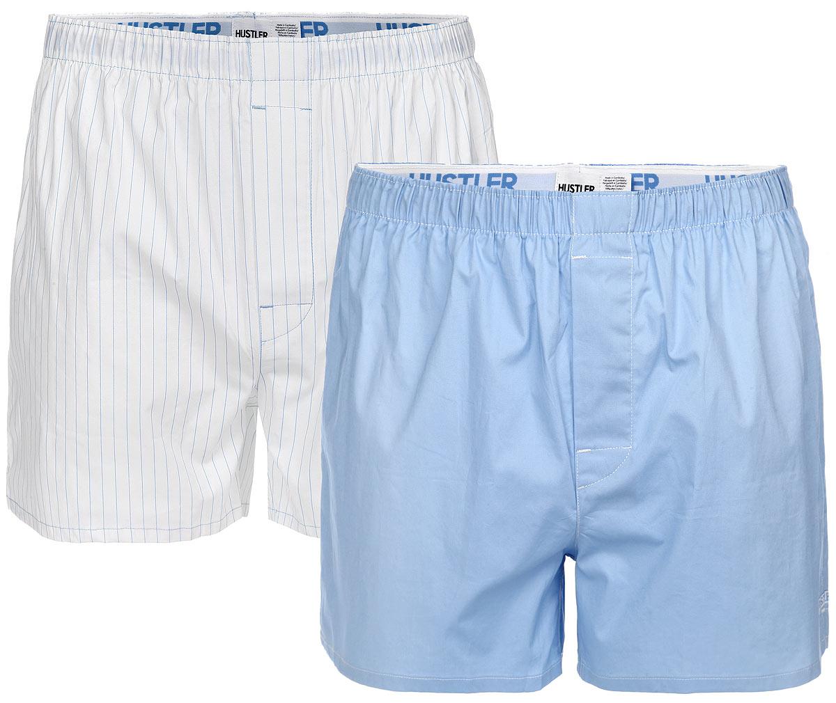 Трусы-шорты мужские Hustler Lingerie Blue Line, цвет: белый, голубой, 2 шт. HUW-1010LTB. Размер L (50)HUW-1010LTBМужские трусы-шорты Hustler Lingerie Blue Line, выполненные из эластичного хлопка, отлично подойдут для повседневной носки. Трусы с гульфиком дополнены на талии широкой резинкой с названием бренда.В комплект входят 2 трусов. Одна модель оформлена принтом в полоску, вторая - однотонная. Сбоку предусмотрена небольшая нашивка с названием бренда.