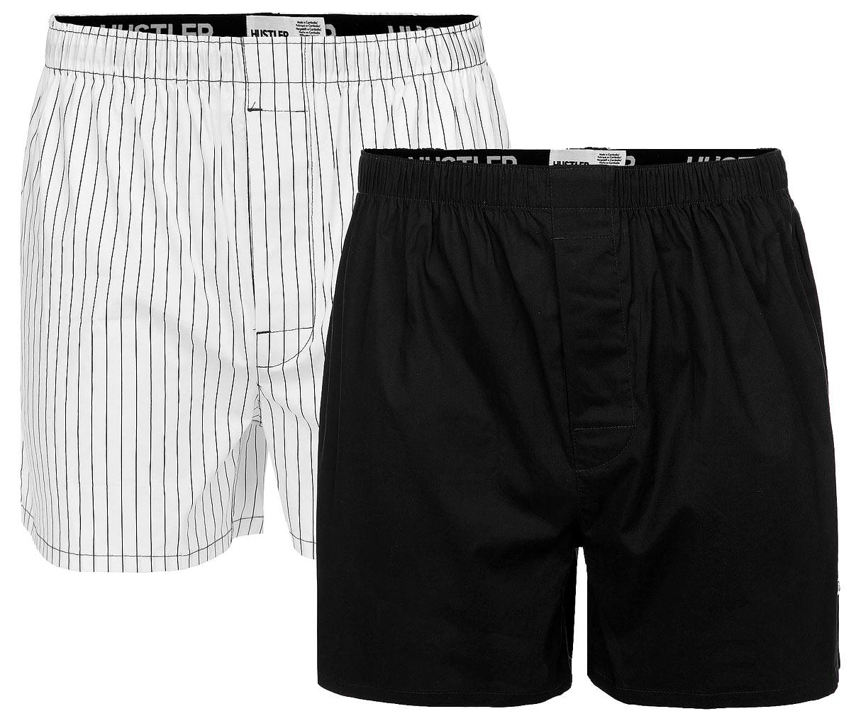 Трусы-шорты мужские Hustler Lingerie Blue Line, цвет: черный, белый, 2 шт. HUW-1011BLK. Размер S 46