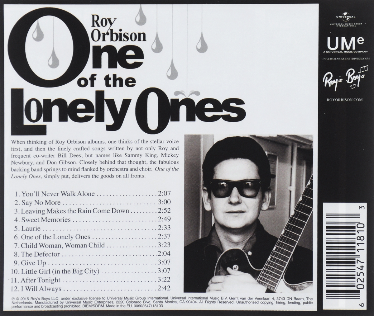 Roy Orbison.  One Of The Lonely Ones Universal International Music B.V.,ООО