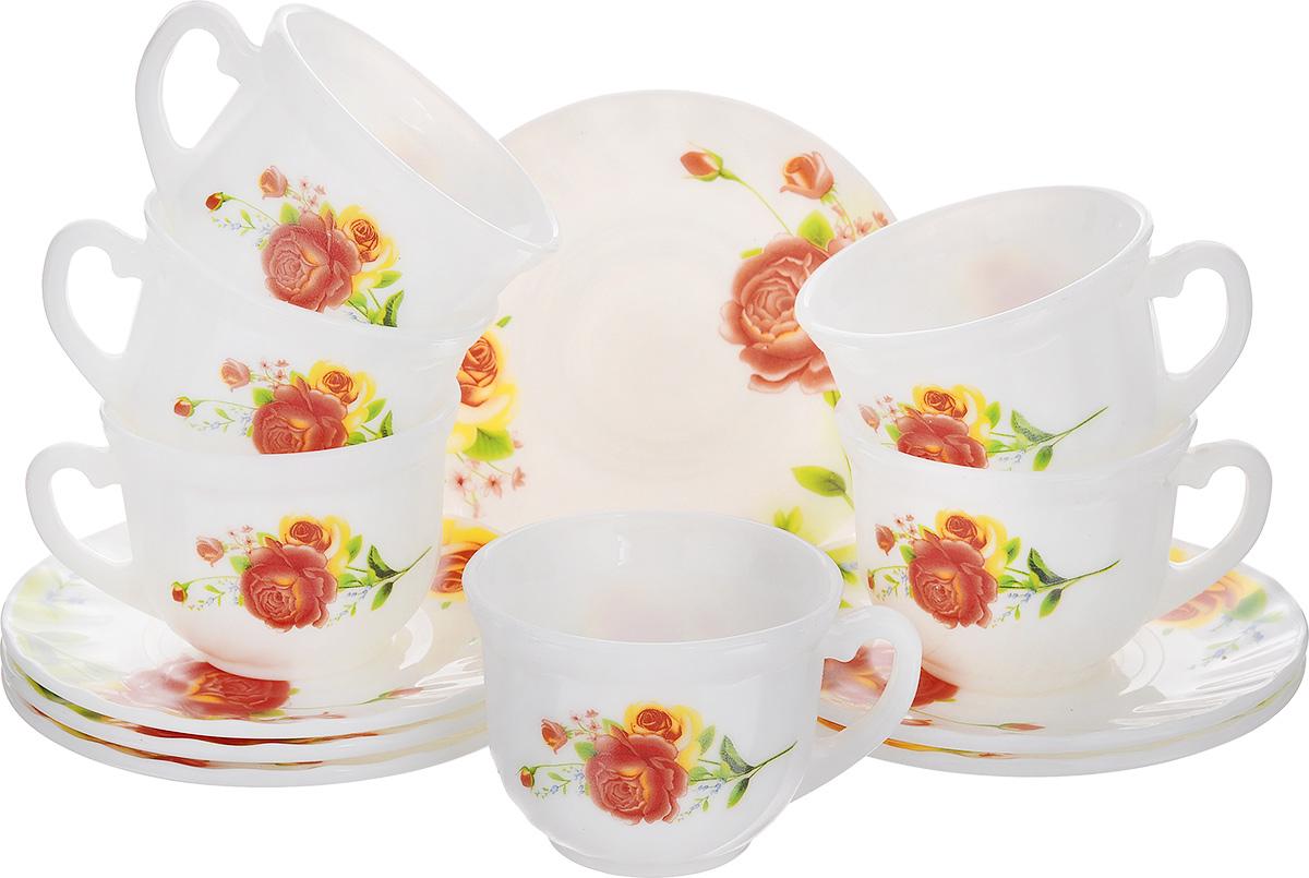 Набор чайный Алессио, 12 предметовXWB190-HP55/6665Чайный набор Алессио состоит из шести чашек и шести блюдец. Предметы набора изготовлены из высококачественной стеклокерамики и оформлены цветочным рисунком.Изящный дизайн придется по вкусу и ценителям классики, и тем, кто предпочитает утонченность и изысканность. Он настроит на позитивный лад и подарит хорошее настроение с самого утра. Чайный набор - идеальный и необходимый подарок для вашего дома и для ваших друзей в праздники, юбилеи и торжества! Он также станет отличным корпоративным подарком и украшением любой кухни. Можно мыть в посудомоечной машине и использовать в микроволновой печи. Объем чашки: 200 мл. Диаметр чашки (по верхнему краю): 8 см. Высота чашки: 6,5 см. Диаметр блюдца: 13,5 см.