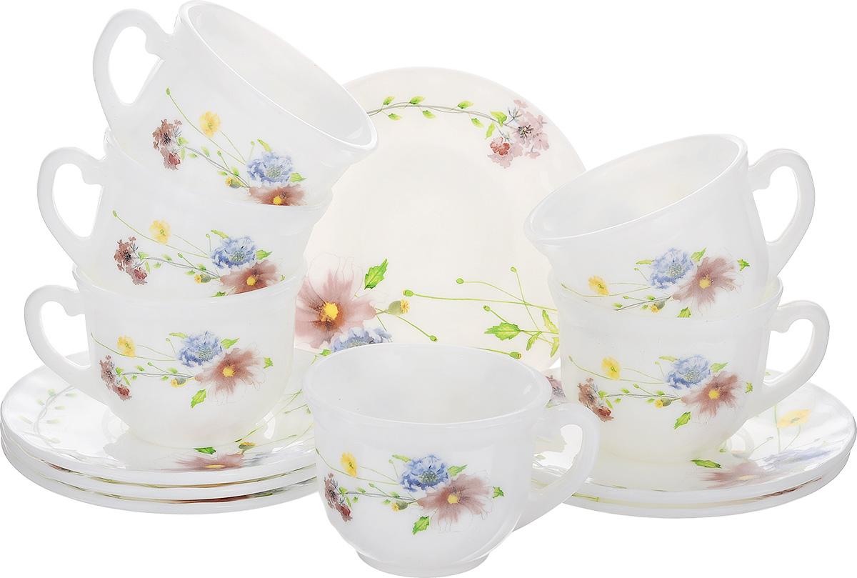 """Чайный набор """"Флоренция"""" состоит из шести  чашек и шести блюдец. Предметы набора  изготовлены из высококачественной  стеклокерамики и оформлены цветочным  рисунком. Изящный дизайн придется по вкусу и ценителям  классики, и тем, кто предпочитает утонченность  и изысканность. Он настроит на позитивный лад  и подарит хорошее настроение с самого утра.   Чайный набор - идеальный и необходимый  подарок для вашего дома и для ваших друзей в  праздники, юбилеи и торжества! Он также  станет отличным корпоративным подарком и  украшением любой кухни.  Можно мыть в посудомоечной машине и  использовать в микроволновой печи.  Объем чашки: 200 мл.  Диаметр чашки (по верхнему краю): 8 см.  Высота чашки: 6,5 см.  Диаметр блюдца: 13,5 см."""
