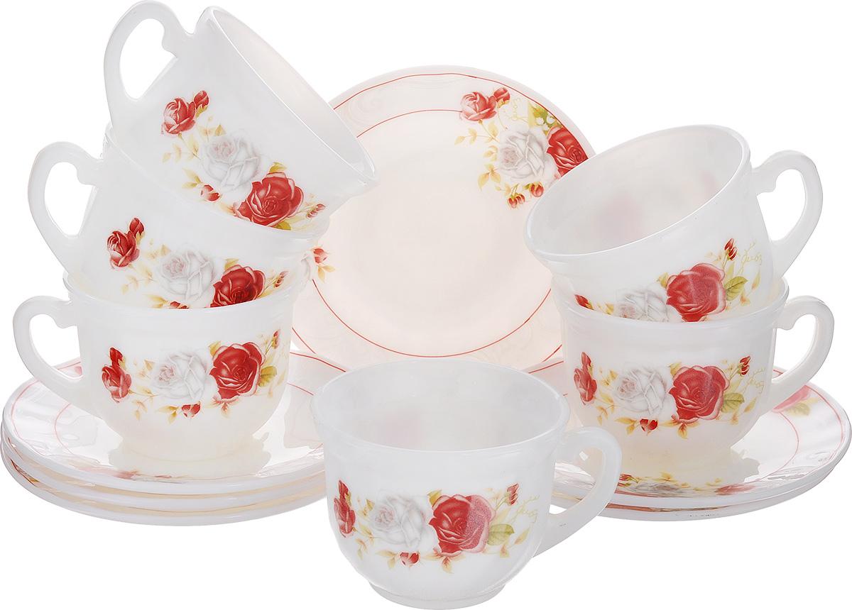 Набор чайный Классик, 12 предметовXWB190-HP55/6627Чайный набор Классик состоит из шести чашек и шести блюдец. Предметы набора изготовлены из высококачественной стеклокерамики и оформлены цветочным рисунком.Изящный дизайн придется по вкусу и ценителям классики, и тем, кто предпочитает утонченность и изысканность. Он настроит на позитивный лад и подарит хорошее настроение с самого утра. Чайный набор - идеальный и необходимый подарок для вашего дома и для ваших друзей в праздники, юбилеи и торжества! Он также станет отличным корпоративным подарком и украшением любой кухни. Можно мыть в посудомоечной машине и использовать в микроволновой печи. Объем чашки: 200 мл. Диаметр чашки (по верхнему краю): 8 см. Высота чашки: 6,5 см. Диаметр блюдца: 13,5 см.