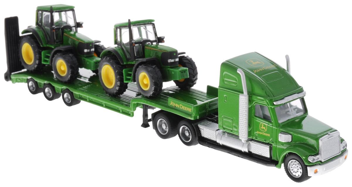 Siku Тягач с двумя тракторами John Deere tomy трактор john deere 6830 с двойными колесами и фронтальным погрузчиком с 3 лет