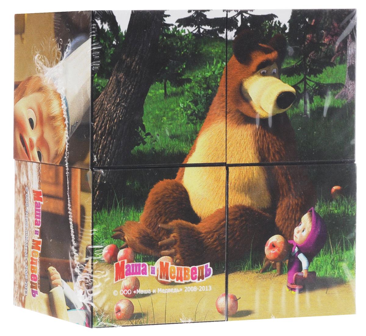 Step Puzzle Кубики Маша и Медведь Яблоки
