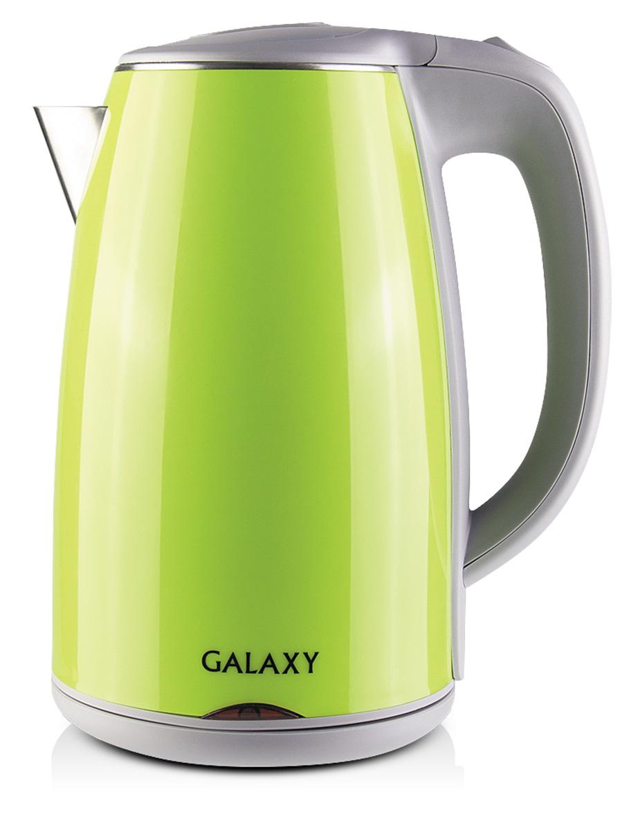 Galaxy GL0307, Green электрочайник4630003362490Электрочайник Galaxy GL0307 имеет элегантную форму и эргономичную ручку. Цветовая гамма чайника позволяет ему легко вписаться в любой интерьер.Главной особенностью представленной модели являются двойные стенки корпуса, что позволяет электрочайнику надолго задерживать тепло внутри себя. За нагрев отвечает спираль, которая создана из нержавеющей стали и изолирована у основания электрочайника.Данная серия имеет в своём арсенале все современные функции защиты, среди которых стоит выделить блокировку включения при недостаточном уровне воды и автовыключение при закипании, что делает Galaxy GL 0307 безопасным для регулярного использования.Скрытый нагревательный элементДвойная стенка из нержавеющей стали 18/10 и пищевого пластикаСиликоновые ножки для устойчивостиУказатель максимального и минимального уровней воды