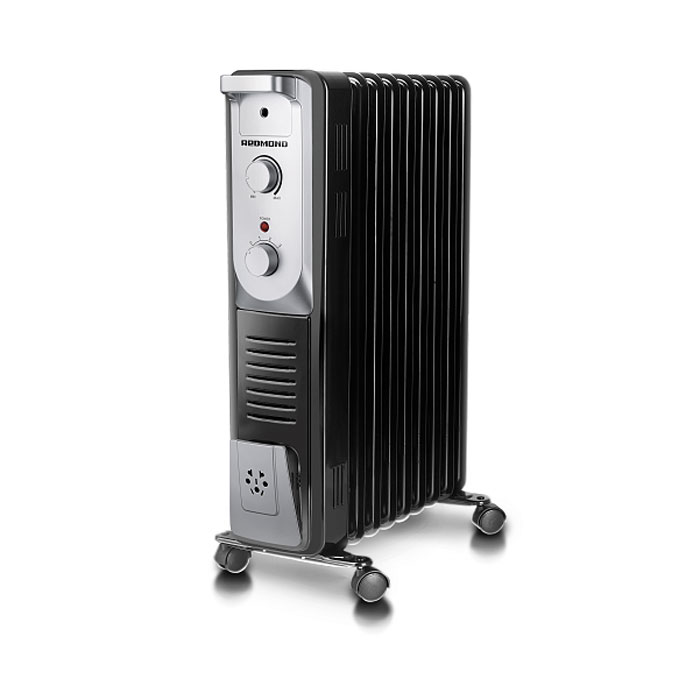 Redmond ROH-4515-9, Black масляный обогревательROH-4515-9BlМасляный обогреватель Redmond ROH-4515-9 - прибор с классическим дизайном, представленный в двух традиционных цветах – в строгом чёрном и в лёгком белом. Ничего лишнего, при этом всё продумано до мелочей.Данная модель имеет три высокоэффективных уровня обогрева. Примечательно, что данное устройство не сжигает кислород, поэтому оно безопасно для здоровья детей. Прибор оснащён удобной и понятной панелью управления, а также надёжными колёсиками и аккуратной ручкой для комфортного перемещения, что немаловажно для людей преклонного возраста. Наличие автоматического термостата гарантирует самостоятельную регулировку обогревателя во время работы (включение / выключение). Redmond ROH-4515-9 обладает и другими заметными достоинствами: защита от перегрева, отсек для намотки шнура и, главное, абсолютная бесшумность во время функционирования.3 уровня обогреваАбсолютная бесшумностьНе сжигает кислородСистема поддержания температурыДлина шнура: 1,2 мОтсек для шнура