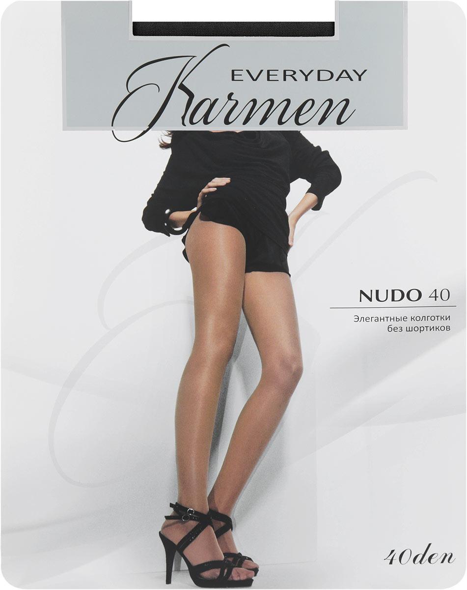 Колготки Karmen Nudo 40, цвет: Nero (черный). Размер 2 (44)K-Nudo 40 NeroЭлегантные колготки Karmen Nudo идеально облегают и подчеркивают фигуру, дарят ощущение комфорта и женственности. Модель выполнена из полиамида с добавлением эластана и хлопка.Колготки без шортиков с комфортными плоскими швами имеют мягкий пояс, который плотно облегает талию, обеспечивая удобство. Модель с плоскими швами дополнена укрепленным мыском, хлопковой ластовицей.Плотность 40 Den.