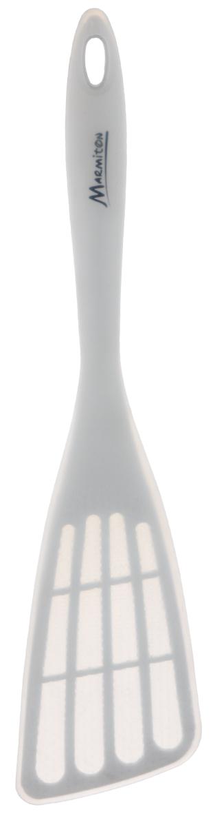 Лопатка Marmiton, цвет: белый, длина 35 см16135Лопатка Marmiton изготовлена из пластика с силиконовым покрытием, которое выдерживает температуру от -40°С до +240°С. Изделие предназначено для сервировки и подачи блюд к столу. Материал изделия устойчив к фруктовым кислотам, воздействию низких и высоких температур. Лопатка безопасна для посуды с антипригарным покрытием, а также посуды из керамики, фарфора, полированной и нержавеющей стали. Можно мыть в посудомоечной машине. Длина лопатки: 35 см. Размер рабочей поверхности: 13 см х 8,5 см.