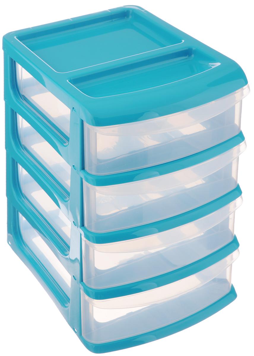 Бокс универсальный Idea, 4 секции, цвет: прозрачный, бирюзовый, 24,5 х 17,5 х 26,5 смМ 2766_бирюзовыйУниверсальный бокс Idea выполнен из высококачественного пластика и имеет четыре удобные выдвижные секции. Бокс предназначен для хранения предметов шитья, рукоделия, хобби и всех необходимых мелочей. Изделие позволит компактно хранить вещи, поддерживая порядок и уют в вашем доме.