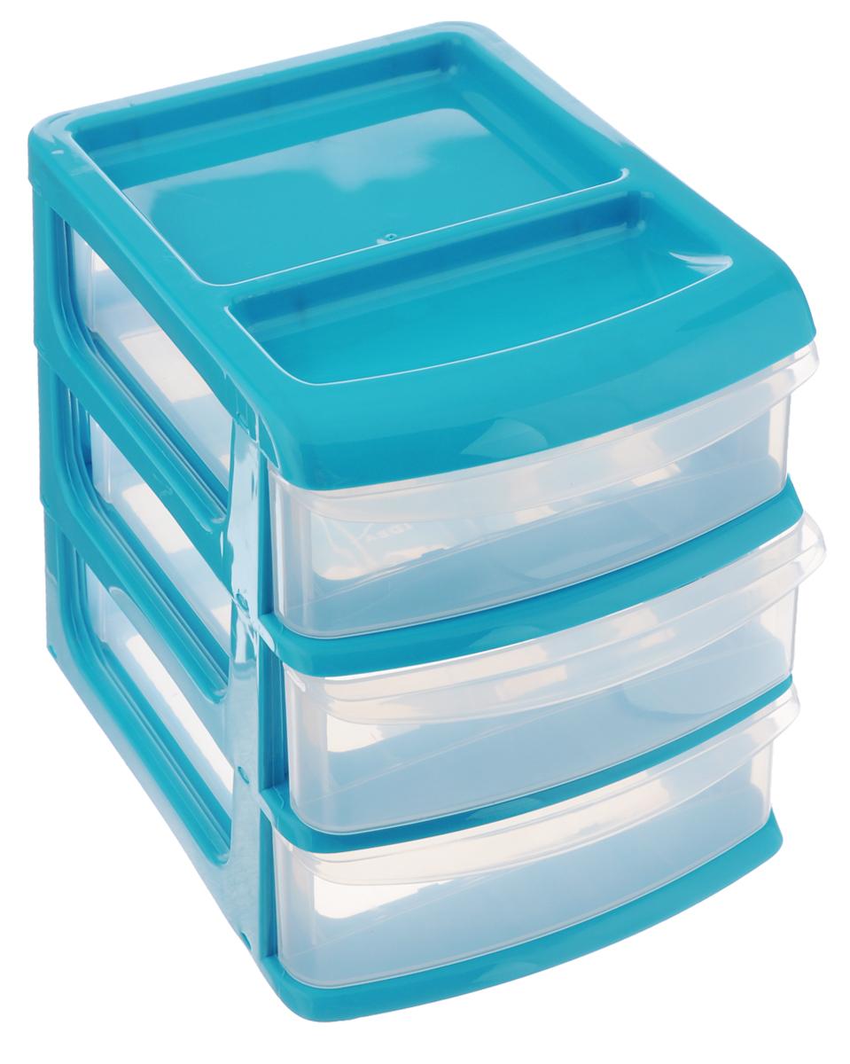 Бокс универсальный Idea, 3 секции, цвет: бирюзовый, 20 х 14,5 х 18 смМ 2763_бирюзовыйУниверсальный бокс Idea выполнен из высококачественного пластика и имеет три удобные выдвижные секции. Бокс предназначен для хранения предметов шитья, рукоделия, хобби и всех необходимых мелочей. Изделие позволит компактно хранить вещи, поддерживая порядок и уют в вашем доме.Размер бокса: 20,5 см х 14,5 см х 18 см. Внутренний размер секции: 18 см х 12,5 см х 4,5 см.