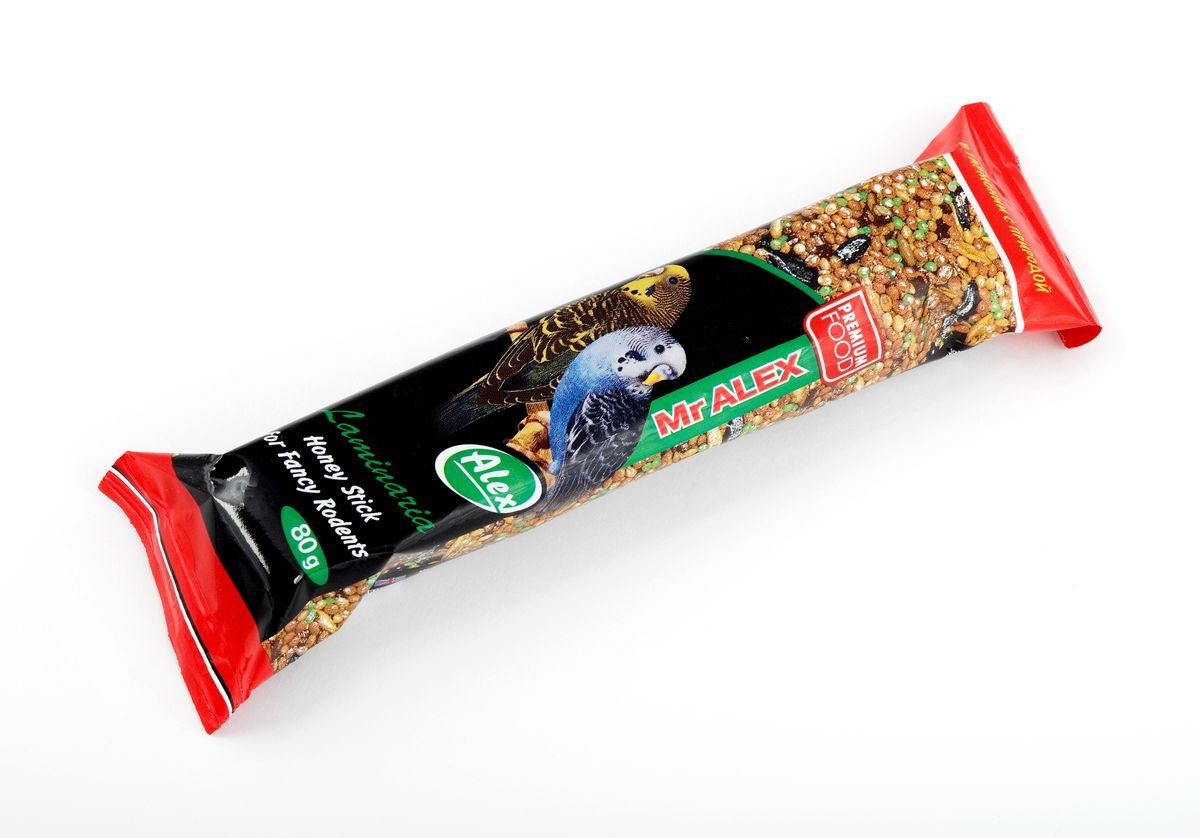 Медовая палочка для волнистых попугаев Mr.Alex Морская капуста, 80 г корм жорка hqf морская капуста для волнистых попугаев 600 гр