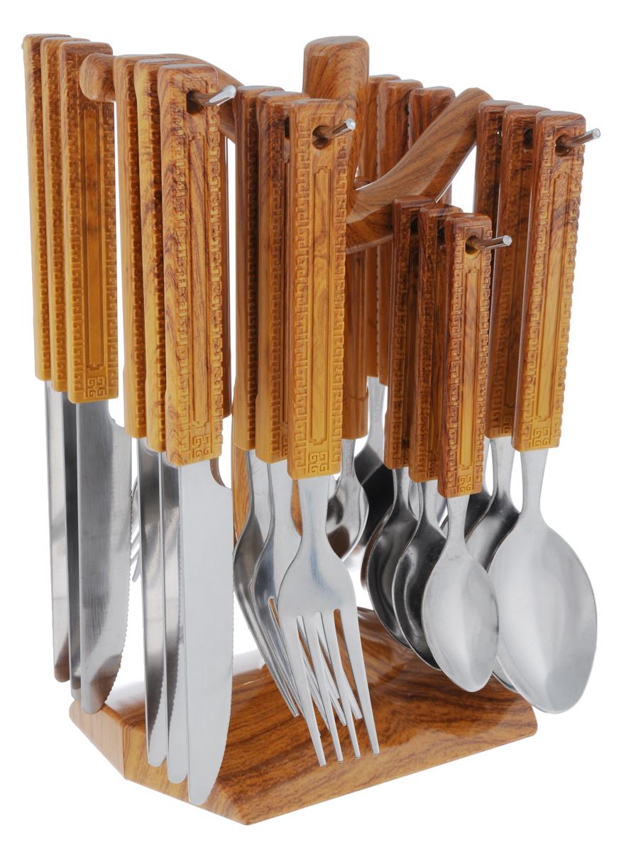 """Набор столовых приборов """"Mayer & Boch"""" выполнен из прочной нержавеющей стали. В набор входит 25 предметов: 6 обеденных ножей, 6 обеденных ложек, 6 обеденных вилок и 6 чайных ложек и подставка. Приборы имеют удобные пластиковые ручки с оригинальным узором. Прекрасное сочетание свежего дизайна и удобство использования предметов набора придется по душе каждому. Они расположены на подставке из стали с секциями для каждого вида приборов. Подставка оснащена удобной ручкой для переноски. Набор столовых приборов """"Mayer & Boch"""" подойдет для сервировки стола, как дома, так и на даче и всегда будет важной частью трапезы, а также станет замечательным подарком.Длина столовых ножей: 22 см.Длина лезвий столовых ножей: 9,5 см.Длина столовых вилок: 19 см.Длина столовых ложек: 19,5 см.Длина чайных ложек: 15 см.Размер подставки: 14 см х 13 см х 24 см."""