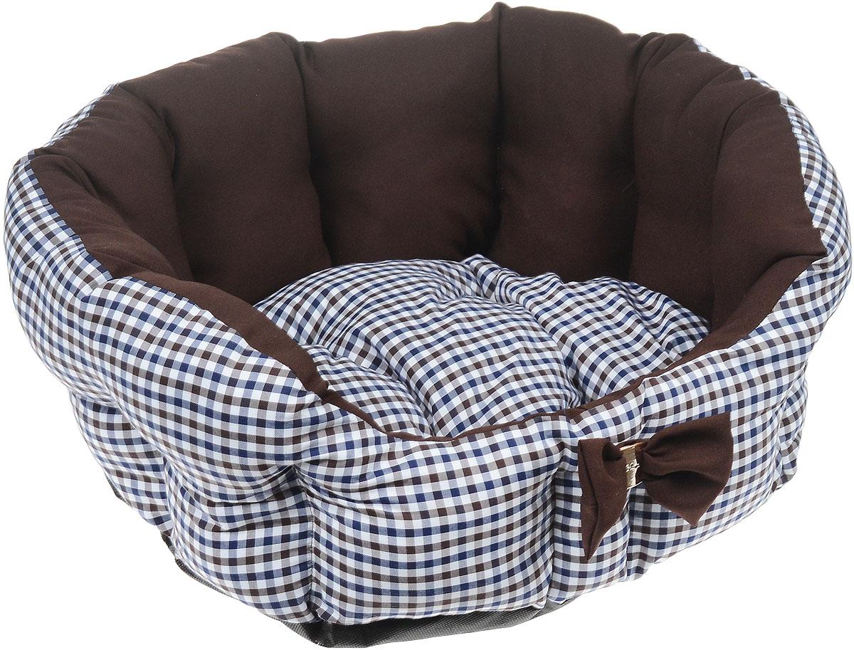 Лежак для собак и кошек Зоогурман Каприз, цвет: шоколадный, белый, синий, диаметр 45 см лежак дарэлл хантер лось 1 с подушкой 45 33 14см