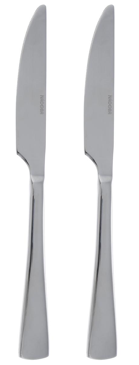 """Набор Nadoba """"Vita"""" состоит из двух столовых ножей, выполненных из нержавеющей стали с зеркальной полировкой. Изделия устойчивы к деформациям и воздействию любых сред, не меняют вкус блюд и долгое время сохраняют превосходный вид. Строгий, лаконичный, но изысканный дизайн набора сделает его украшением обеденного стола.Длина ножа: 23,7 см. Длина лезвия: 5,7 см."""