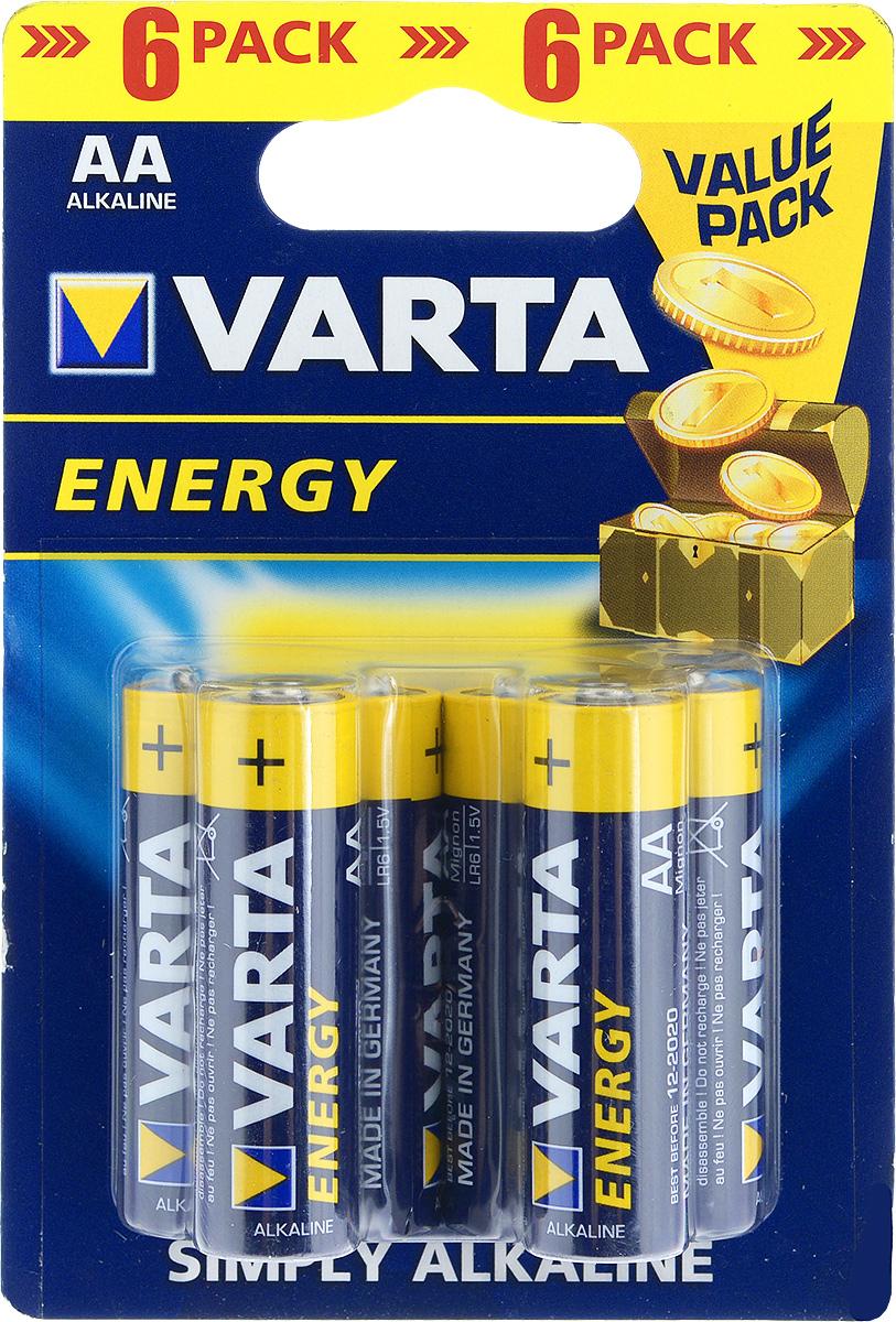 Батарейка Varta Energy, тип AA, 1,5В, 6 шт38678Алкалиновые батарейки Varta Energy отличаются долгим сроком работы, подходят для аудио- видео- техники, а также другой электроники и бытовых приборов. Не разбирать, не перезаряжать, не подносить к открытому огню. Не замыкать контакты. При установке соблюдать полярность (+/-). Хранить в недоступном для детей месте. Размер батарейки: 5 см х 1,4 см. Тип элемента питания: щелочная.