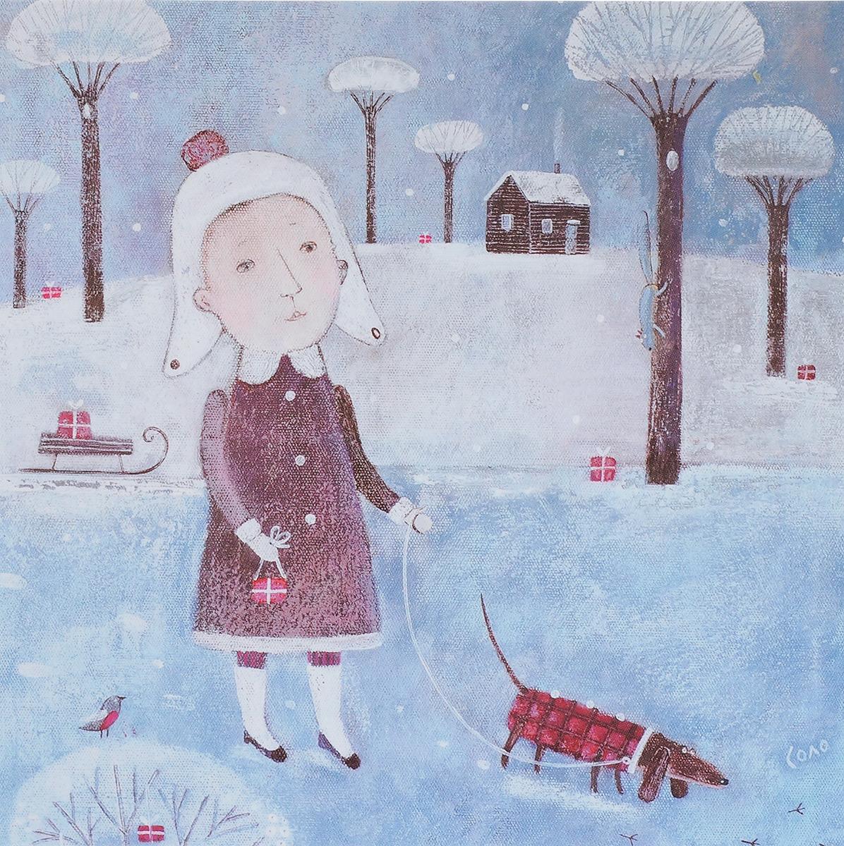 Открытка Рождественские каникулы. Автор Соловьева Светлана34832Оригинальная дизайнерская открытка «Рождественские каникулы» выполнена из плотного матового картона. На лицевой стороне расположена репродукция картины художницы Светланы Соловьевой с изображением девушки, несущей подарки вместе со своей одетой в клетчатое пальто таксой. Такая открытка станет великолепным дополнением к подарку или оригинальным почтовым посланием, которое, несомненно, удивит получателя своим дизайном и подарит приятные воспоминания.