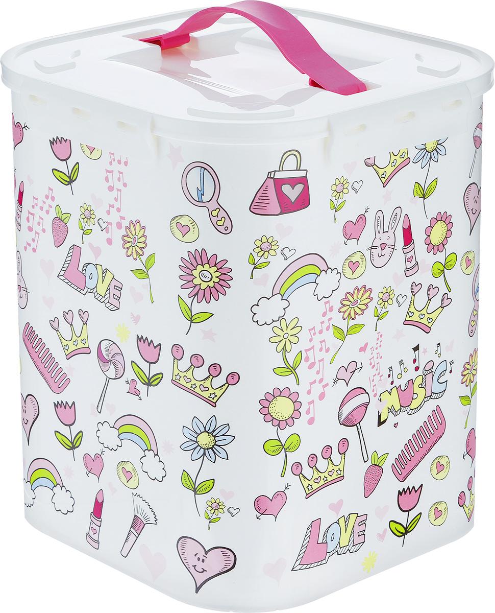 Контейнер для хранения Idea Фанни, цвет: белый, светло-розовый, 10 л контейнер для хранения idea ягоды 10 л