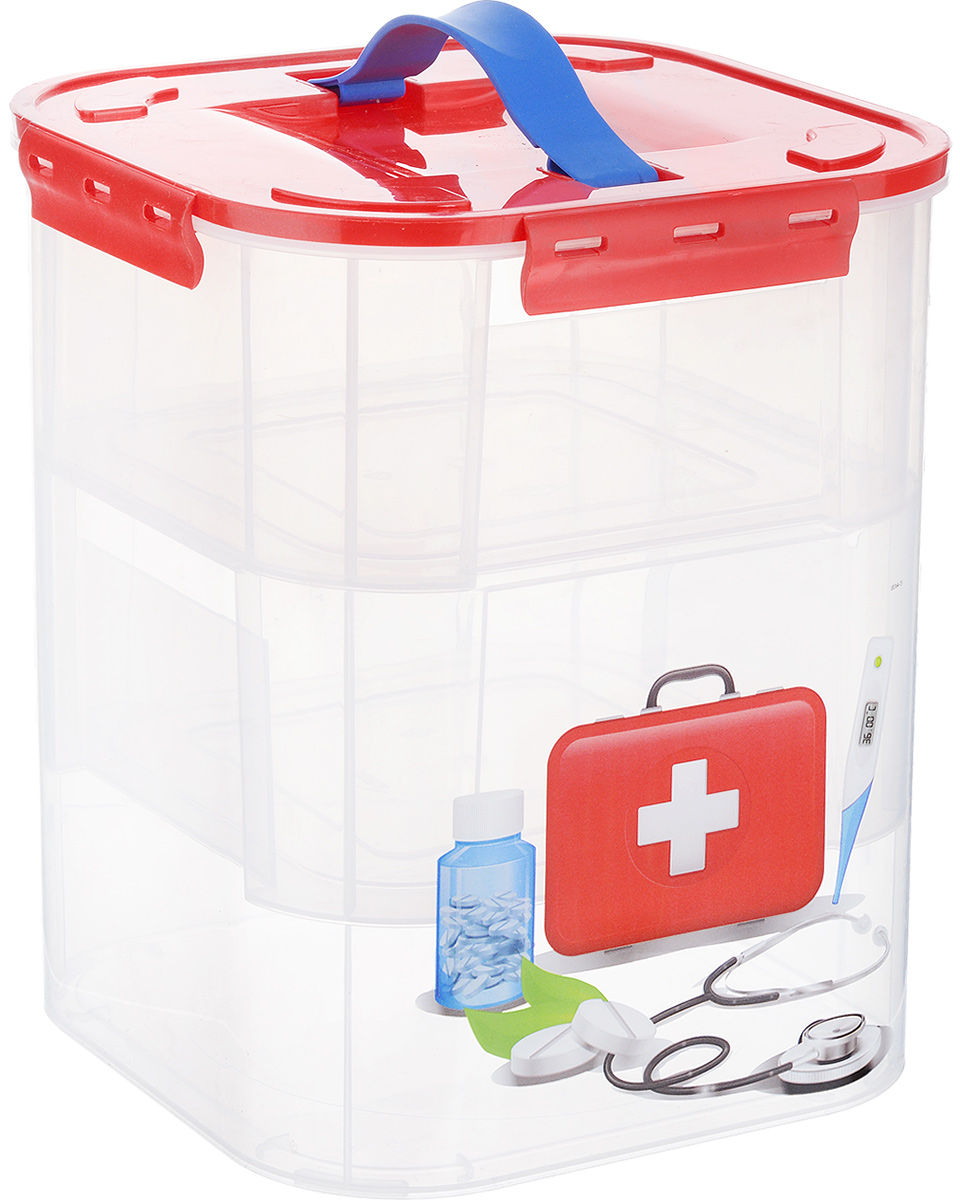 Контейнер для хранения Idea Аптечка, с вкладышами, 10 лМ 2831_аптечкаКонтейнерIdea Аптечка выполнен из высококачественного полипропилена, предназначен для хранения различных вещей, лекарств и мелких аксессуаров.Контейнер снабжен плотно закрывающейся крышкой с четырьмя фиксаторами. Изделие оформлено ярким рисунком и оснащено резиновой ручкой на крышке для удобной переноски.Внутри контейнера - два съемных вкладыша, оснащенные ручками для переноски. Вы можете хранить вещи и аксессуары как во вкладыше, так и в самом контейнере. Размер контейнера (без учета крышки): 21 см х 21 см х 26,5 см.Размер вкладыша: 20,5 см х 20,5 см х 9,5 см.