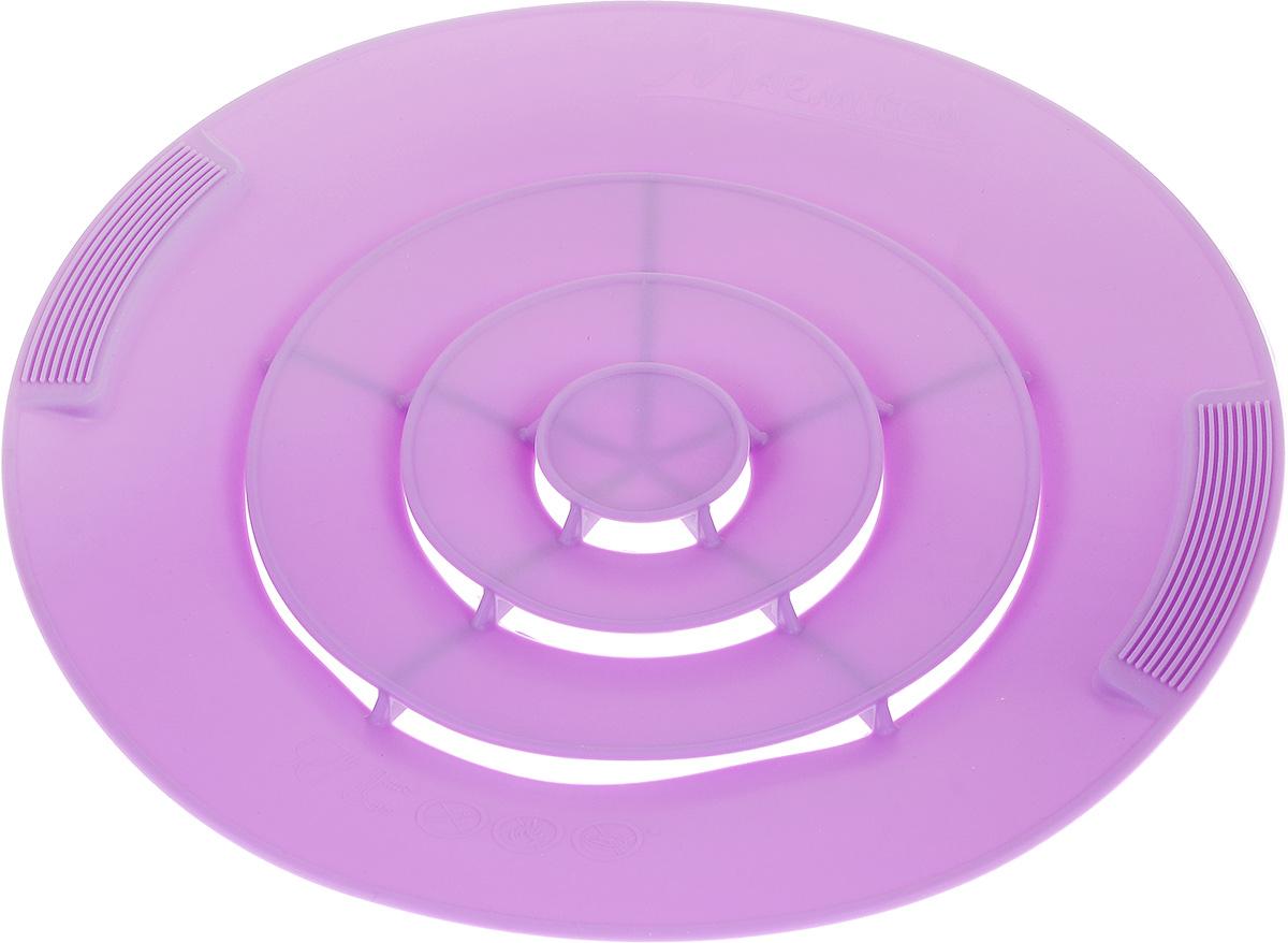 Крышка силиконовая от накипи Marmiton, цвет: сиреневый. Диаметр 28 см17048Силиконовая крышка Marmiton предназначена для предохранения готовящихся продуктов от выкипания. Это настоящий прорыв в кухонных технологиях и отличная альтернатива обычным крышкам. Она устроена таким образом, что пенящий бурлящий поток поднимается и сквозь специальные лепестки выходит наверх крышки, оставляя варочную поверхность сухой и чистой, даже если вы оставите готовящуюся пищу без присмотра надолго. С такой крышкой у вас ничего не убежит и не выкипит, не останется брызг от раскаленного масла, все останется в посуде и приготовится на максимально возможной температуре, сэкономив ваше время и энергию. Преимущества: - Предотвращает от выкипания. - Предотвращает беспорядок на кухне. - Подходит для любой посуды диаметром от 14 до 28 см. - Экономит время и энергию. Можно использовать на плите, в духовом шкафу и микроволновой печи. Сохраняет свежесть продуктов при хранении в холодильнике. Можно мыть в посудомоечной машине.