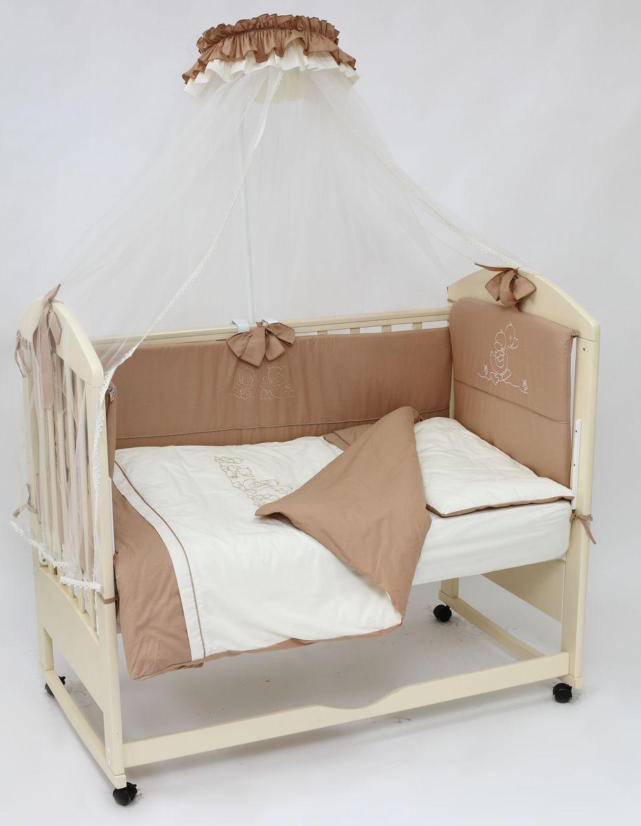 Топотушки Комплект детского постельного белья Капучино цвет коричневый бежевый 8 предметов4630008873793Комплект постельного белья из 8 предметов включает все необходимые элементы для детской кроватки. Комплект создает для Вашего ребенка уют, комфорт и безопасную среду с рождения; современный дизайн и цветовые сочетания помогают ребенку адаптироваться в новом для него мире. Комплекты «Топотушки» хорошо вписываются в интерьер как детской комнаты, так и спальни родителей. Как и все изделия «Топотушки» данный комплект отражает самые последние технологии, является безопасным для малыша и экологичным. Российское происхождение комплекта гарантирует стабильно высокое качество, соответствие актуальным пожеланиям потребителей, конкурентоспособную цену.Балдахин 4,5м (сетка); охранный бампер 360х40см. (из 4-х частей, наполнитель – холлофайбер); подушка 40х60см. (наполнитель – холлофайбер); одеяло 140х110см. (наполнитель – холлофайбер); наволочка 40х60см; пододеяльник 147х112см; простынь на резинке 120х60см. (цвет – молочный); простынь на резинке 120х60см. (цвет – коричневый)
