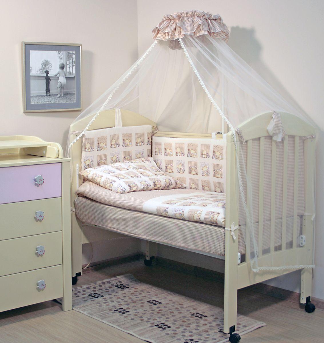 Комплект постельного белья из 7 предметов включает все необходимые элементы для детской кроватки. Комплект создает для Вашего ребенка  уют, комфорт и безопасную среду с рождения, современный дизайн и цветовые сочетания помогают ребенку адаптироваться в новом для него  мире. Комплекты «Топотушки» хорошо вписываются в интерьер как детской комнаты, так и спальни родителей. Как и все изделия «Топотушки» данный комплект отражает самые последние технологии, является безопасным для малыша и экологичным.  Российское происхождение комплекта гарантирует стабильно высокое качество, соответствие актуальным пожеланиям потребителей,  конкурентоспособную цену. В комплекте: Балдахин 3м (сетка); охранный бампер 360х50см. (из 4-х частей, наполнитель – холлофайбер); подушка 40х60см. (наполнитель – холлофайбер); одеяло 140х110см. (наполнитель – холлофайбер); наволочка 40х60см; пододеяльник 147х112см; простынь на резинке 120х60см