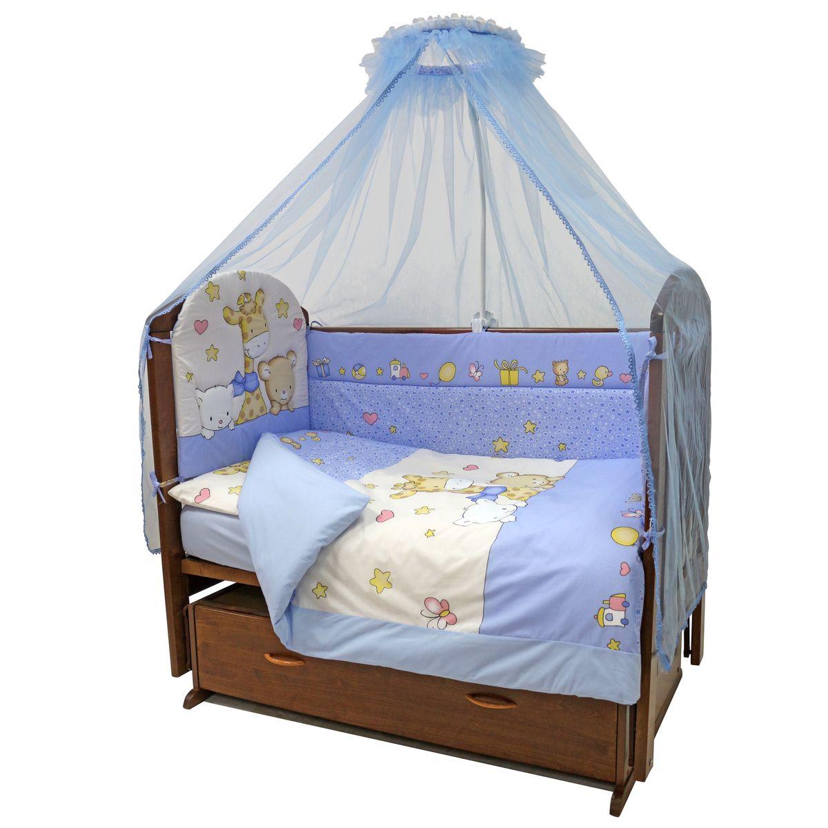 Комплект постельного белья из 7 предметов включает все необходимые элементы для детской кроватки. Комплект создает для Вашего ребенка  уют, комфорт и безопасную среду с рождения, современный дизайн и цветовые сочетания помогают ребенку адаптироваться в новом для него  мире. Комплекты «Топотушки» хорошо вписываются в интерьер как детской комнаты, так и спальни родителей. Как и все изделия «Топотушки» данный комплект отражает самые последние технологии, является безопасным для малыша и экологичным.  Российское происхождение комплекта гарантирует стабильно высокое качество, соответствие актуальным пожеланиям потребителей,  конкурентоспособную цену. В комплекте: Балдахин 3м (сетка); охранный бампер 360х40см. (из 4-х частей, наполнитель – холлофайбер); подушка 40х60см. (наполнитель – холлофайбер); одеяло 140х110см. (наполнитель – холлофайбер); наволочка 40х60см; пододеяльник 147х112см; простынь на резинке 120х60см