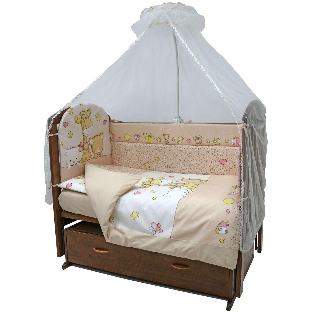 Комплект постельного белья из 7 предметов включает все необходимые элементы для детской кроватки.  Комплект создает для Вашего ребенка уют, комфорт и безопасную среду с рождения, современный дизайн и цветовые сочетания помогают  ребенку адаптироваться в новом для него мире.   Комплекты «Топотушки» хорошо вписываются в интерьер как детской комнаты, так и спальни родителей. Как и все изделия «Топотушки» данный  комплект отражает самые последние технологии, является безопасным для малыша и экологичным. Российское происхождение комплекта  гарантирует стабильно высокое качество, соответствие актуальным пожеланиям потребителей, конкурентоспособную цену.  Комплектация:  Балдахин 3м (сетка); охранный бампер 360х40см. (из 4-х частей, наполнитель – холлофайбер); подушка 40х60см. (наполнитель – холлофайбер);  одеяло 140х110см. (наполнитель – холлофайбер); наволочка 40х60см; пододеяльник 147х112см; простынь на резинке 120х60см