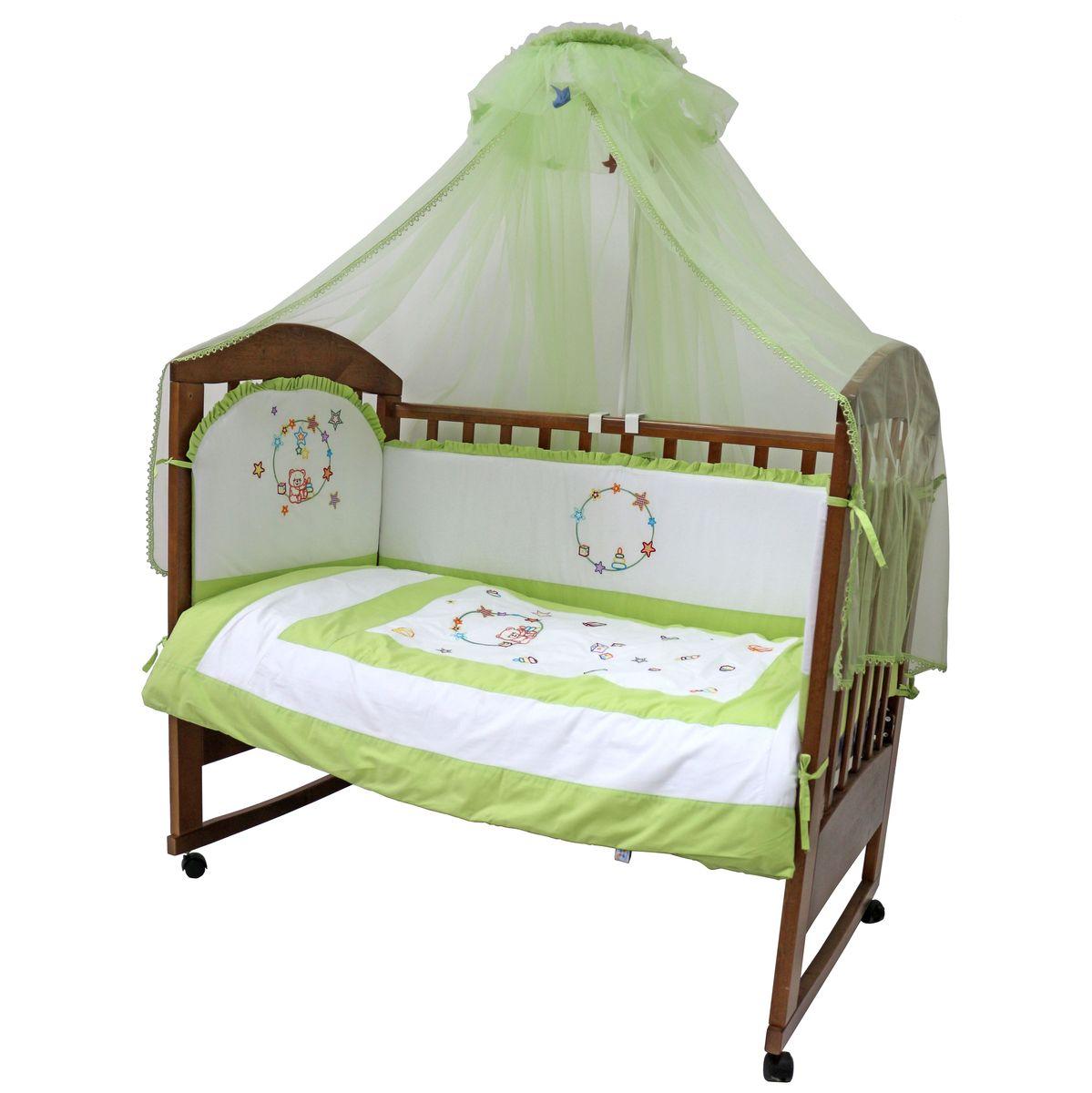 Топотушки Комплект детского постельного белья Карусель цвет зеленый белый 7 предметов