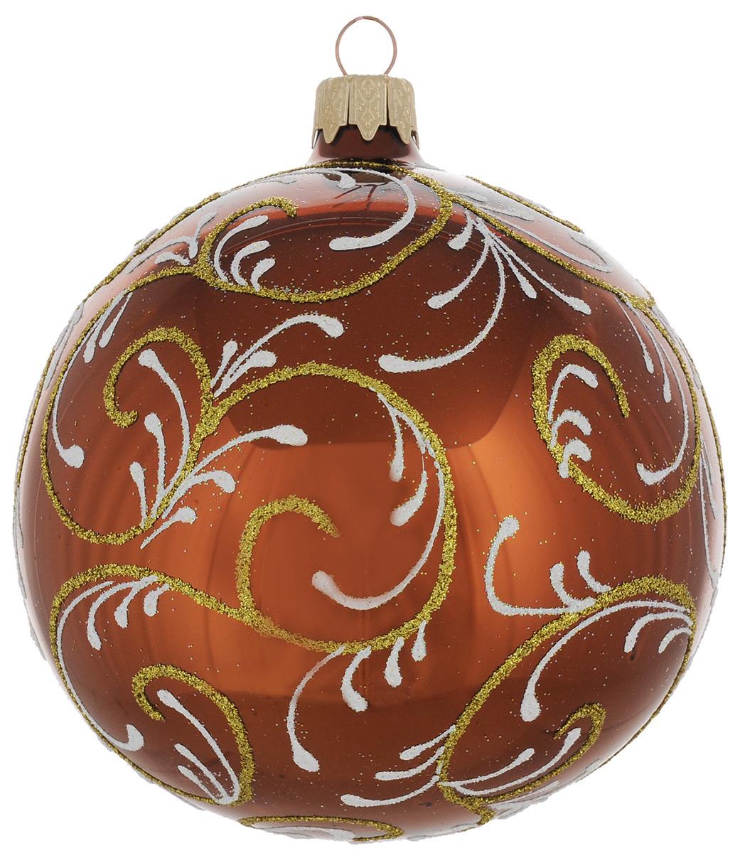 Новогоднее подвесное украшение Узор, цвет: коричневый, диаметр 10 см. Ручная роспись38254Новогоднее украшение Узор отлично подойдет для украшения вашего дома и новогодней ели. Игрушка выполнена из тонкого стекла в виде шара и декорирована изысканными узорами из блесток. Украшение оснащено специальной металлической петелькой, в которую можно продеть нитку или ленту для подвешивания. Елочная игрушка - символ Нового года. Она несет в себе волшебство и красоту праздника. Создайте в своем доме атмосферу веселья и радости, украшая всей семьей новогоднюю елку нарядными игрушками, которые будут из года в год накапливать теплоту воспоминаний.