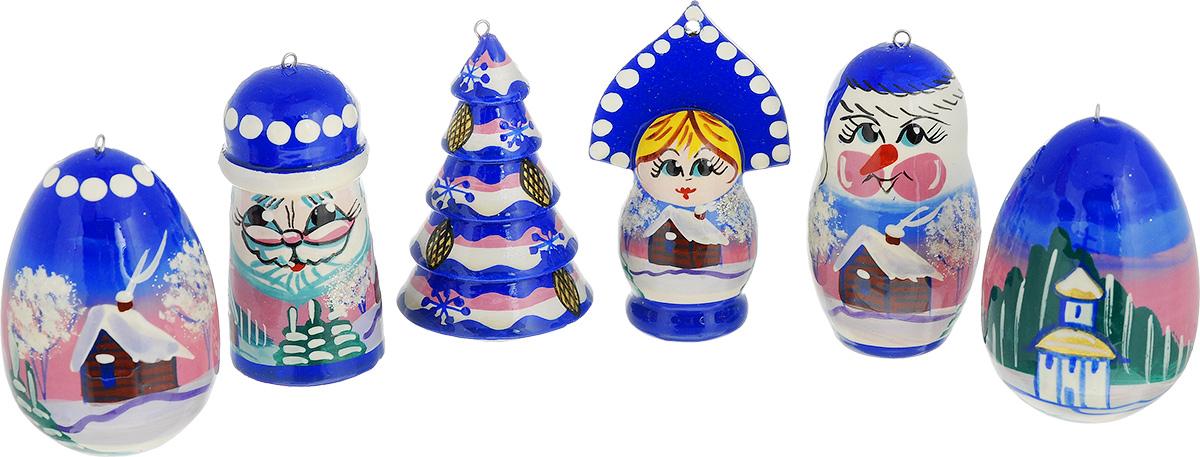 Набор елочных игрушек Матрешки. Новый Год, цвет: синий, 6 шт. Ручная работанг.ва.есНабор елочных украшений Матрешки. Новый Год отлично подойдет для украшения вашего дома и новогодней ели. Игрушки выполнены из дерева и окрашены вручную. Все фигурки отличаются друг от друга по форме и росписи: Дед Мороз, снеговик, елка, избушка, яйцо. Украшение оснащено специальной петелькой, в которую вы сможете продеть нитку или ленту для подвешивания. Елочная игрушка - символ Нового года. Она несет в себе волшебство и красоту праздника. Создайте в своем доме атмосферу веселья и радости, украшая всей семьей новогоднюю елку нарядными игрушками, которые будут из года в год накапливать теплоту воспоминаний.