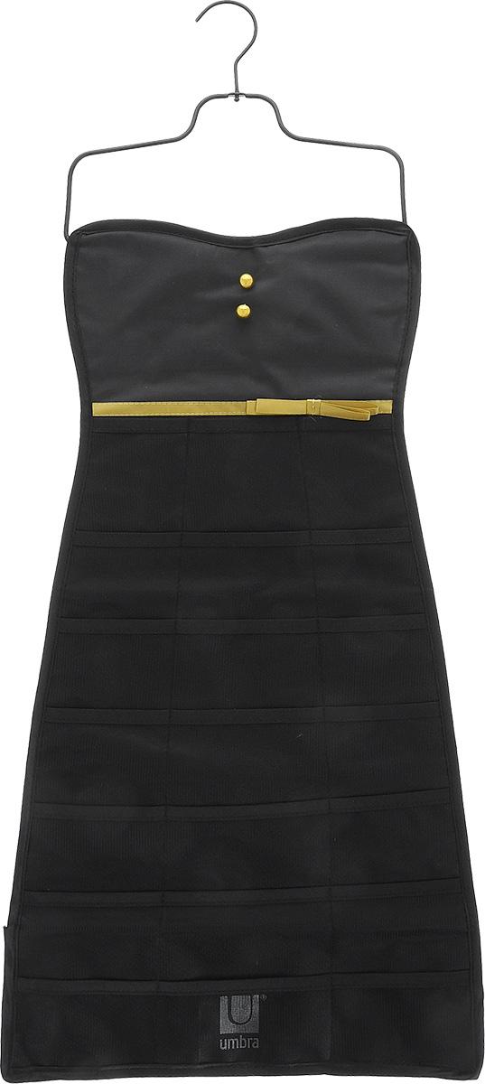 Органайзер для украшений Umbra Bow Dress, цвет: черный, 34 см х 78,7 см299045-042Органайзер для украшений Umbra Bow Dress изготовлен из полиэстера. Изделие имеет 21 сетчатый карман, на оборотной стороне - 19 петель для бус, цепочек, браслетов, часов и массивных сережек. Металлический крючок позволит повесить органайзер в любом понравившемся вам месте. Органайзер поможет аккуратно хранить украшения, держать их в порядке, и вы никогда их не потеряете.Средний размер кармана: 8,5 см х 6 см.