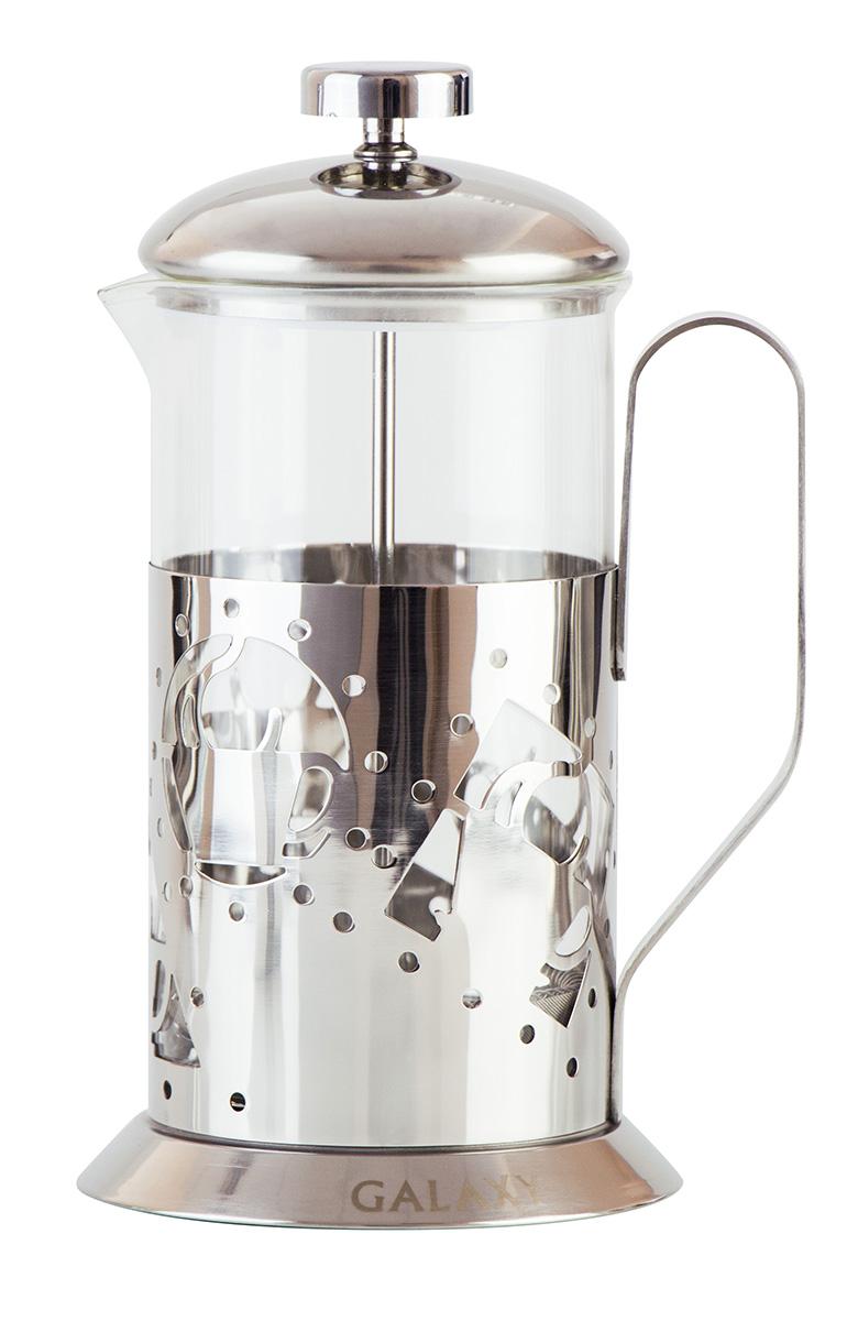"""Френч-пресс """"Galaxy"""" выполнен из высококачественной нержавеющей стали. Он имеет стеклянную колбу.  Для удобства мерная ложка в комплекте. Объем: 0,6 л."""