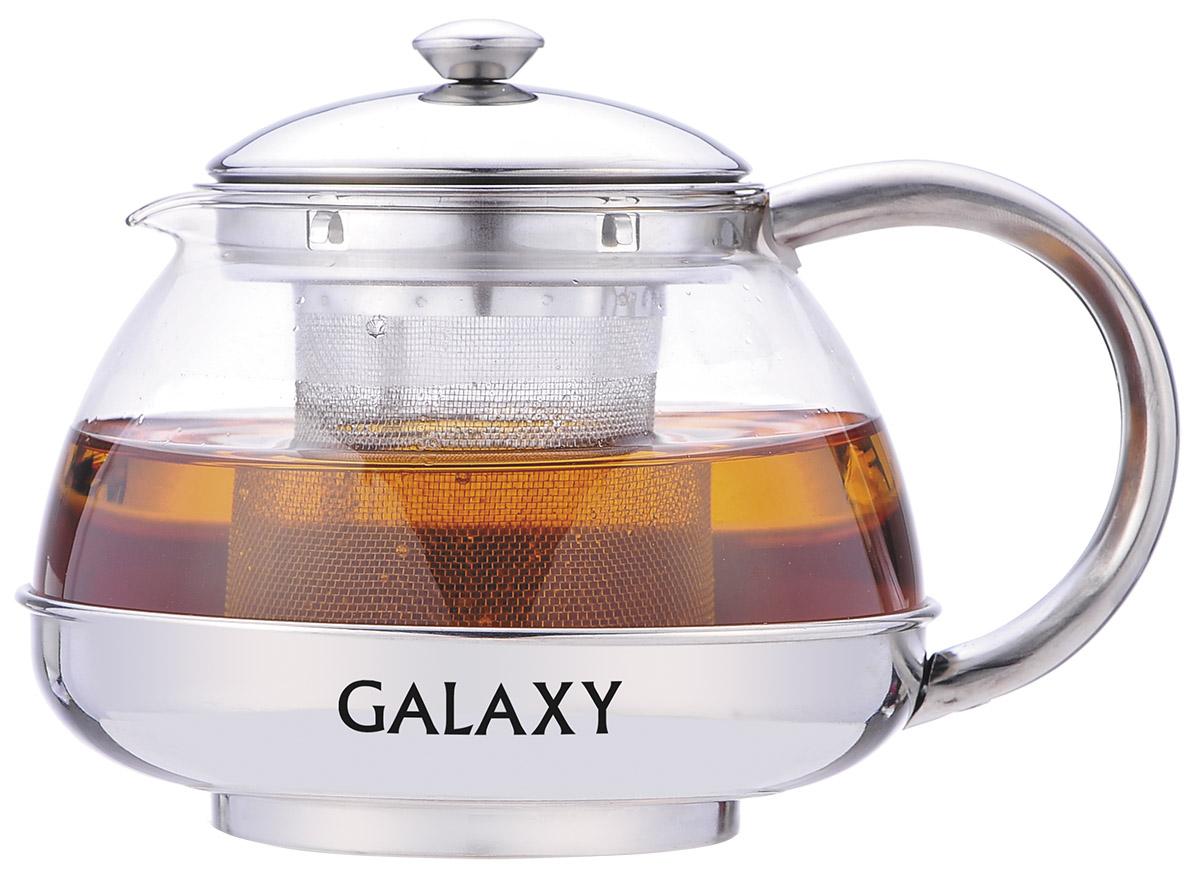 """Заварочный чайник """"Galaxy"""" поможет приготовить вкусный и ароматный чай. Корпус выполнен из высококачественной нержавеющей стали, а колба - из жаропрочного боросиликатного стекла. Чайник снабжен съемным металлическим ситечком. Пластиковая мерная ложка в комплекте. Можно мыть в посудомоечной машине.  Диаметр (по верхнему краю): 8 см.  Высота чайника (без учета крышки): 9,5 см.  Длина ложки: 10 см.  Высота ситечка: 7 см."""