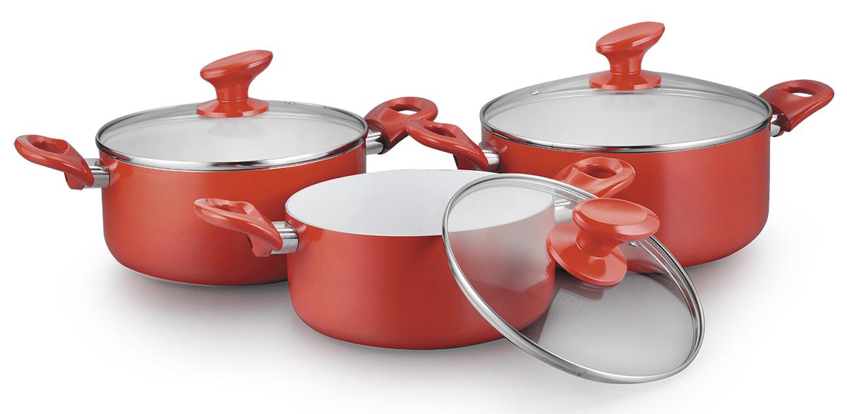 Набор посуды Galaxy, с керамическим покрытием, 6 предметов. GL9503GL9503Набор посуды Galaxy состоит из 3 кастрюль. Изделия выполнены из высококачественного алюминия иимеют крышки из жаропрочного стекла. Японское 7-слойное керамическое покрытие в наборах посуды идеально подойдет для любителей здоровой пищи. В такой посуде можно готовить без масла, продукты при этом не пригорают! Благодаря особой технологии закаливания покрытие имеет высокую прочность и совершенную гладкость. Даже очень сильные загрязнения легко удаляются обычной бумажной салфеткой. Изделия оснащены эргономичными ручками.Термоаккумулирующее дно подходит для всех типов плит, в том числе индукционных.Объем кастрюль: 3; 4; 5 л.