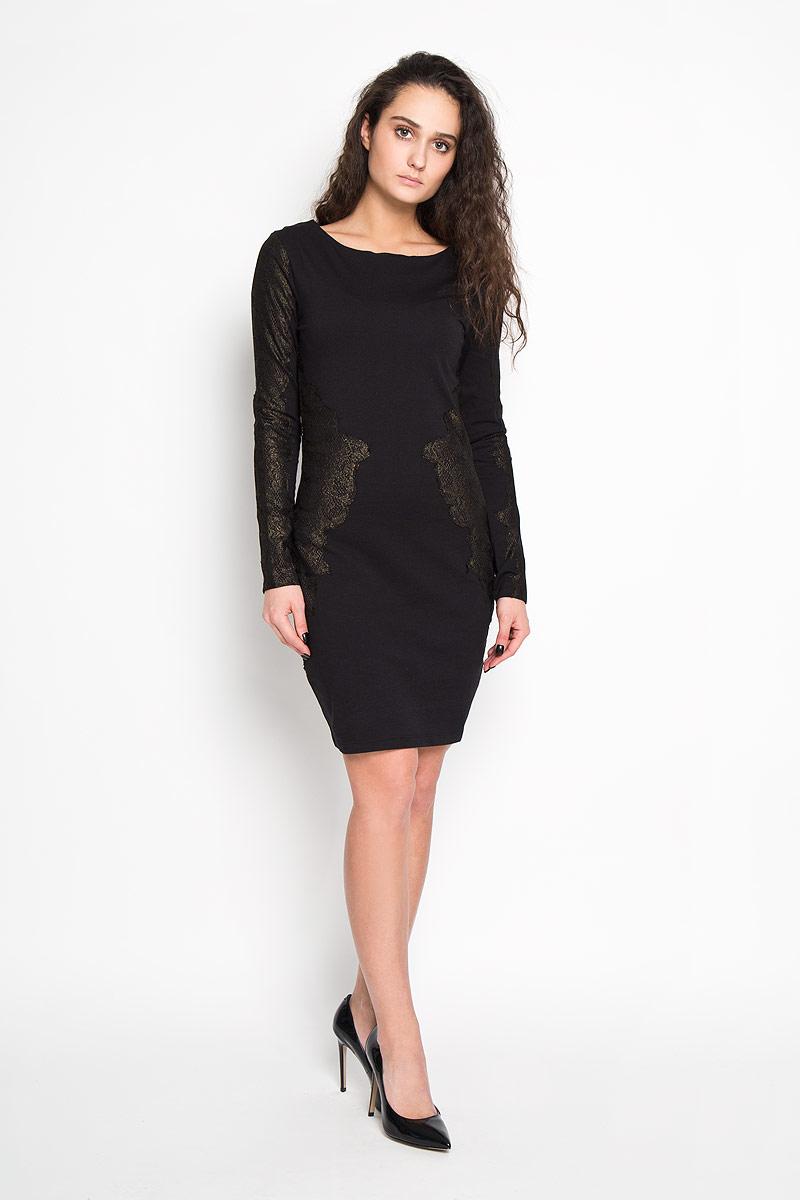 Платье Sela, цвет: черный. DK-117/1032-5416D. Размер M (46)DK-117/1032-5416DЭлегантное платье Sela выполнено из высококачественного эластичного хлопка. Такое платье обеспечит вам комфорт и удобство при носке.Модель с длинными рукавами и круглым вырезом горловины выгодно подчеркнет все достоинства вашей фигуры благодаря слегка приталенному силуэту. Изделие украшено золотистыми кружевными вставками. Изысканное платье-миди создаст обворожительный и неповторимый образ.Это модное и удобное платье станет превосходным дополнением к вашему гардеробу, оно подарит вам удобство и поможет вам подчеркнуть свой вкус и неповторимый стиль.