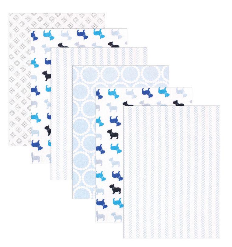 Luvable Friends Набор пеленок цвет голубой 71 х 71 см 6 шт40155Комплект из трех фланелевых Luvable Friends станет превосходным подарком для родителей малыша.Каждая пеленка в комплекте имеет оригинальный принт. Мягкая поверхность фланели и приятная расцветка создают уют и комфорт для ребенка. Пеленки очень практичны и многофункциональны. Их можно использовать в качестве простыни в кроватку или в качестве полотенца. Комплект перевязан красивой подарочной лентой.