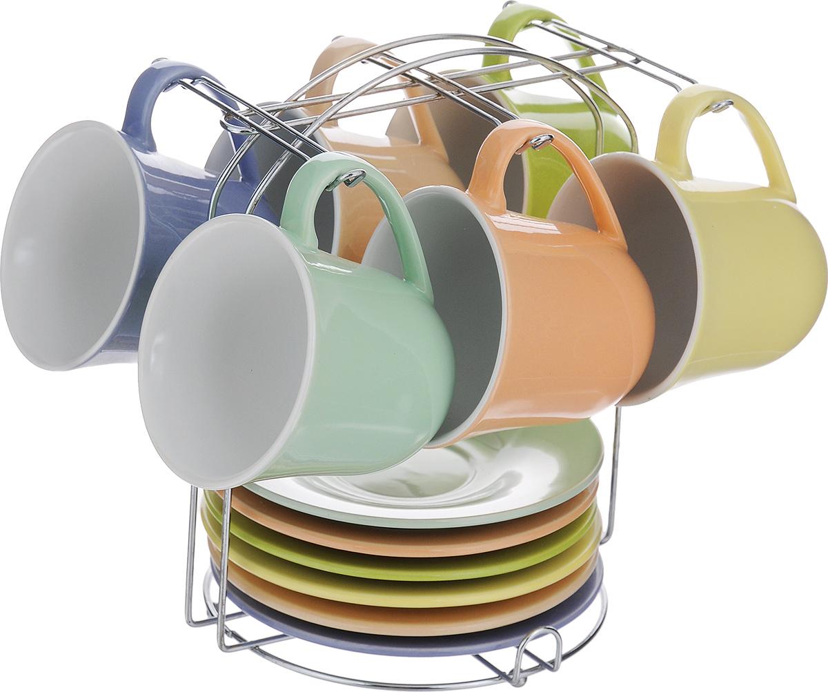 Набор чайный Loraine, на подставке, 13 предметов24864Чайный набор Loraine состоит из 6 чашек, 6 блюдец и подставки. Изделия выполнены из высококачественной керамики. Для предметов набора предусмотрена специальная металлическая подставка с крючками для чашек и подставкой для блюдец. Изящный чайный набор прекрасно оформит стол к чаепитию и станет замечательным подарком для любой хозяйки. Объем чашки: 190 мл. Диаметр чашки (по верхнему краю): 8,5 см. Высота чашки: 8 см. Диаметр блюдца: 14 см. Высота блюдца: 2 см.Размер подставки: 16,5 х 17 х 20 см.