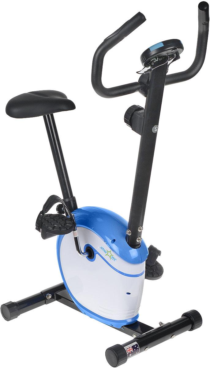 Велотренажер Starfit BK-101 Magic, магнитныйУТ-00007567Велотренажер BK-101 Magic, магнитный-это удобная эргономичная модель от популярного бренда Star Fit.Велотренажер BK-101 Magicс более мягкой плавностью хода, обеспечивает наиболее похожую симуляцию езды на настоящем велосипеде. Модель рассчитана на любителей и продвинутых пользователей. Дизайн всех моделей тренажеров маркиStar Fitразработан австралийским дизайнерским бюро.В комплект поставкивключена русскоязычная инструкцияпо сборке и эксплуатации тренажера.Максимальный вес пользователя, кг:100, Вес тренажера, кг: 16,5Вес маховика, кг:2,5Дополнительные характеристики:Дисплей:LCD (время, скорость, дистанция, калории, пульс,питание компьютера - сеть)Изменение пульса:есть, датчики пульса на руле (встроенные)Количество уровней нагрузки:8