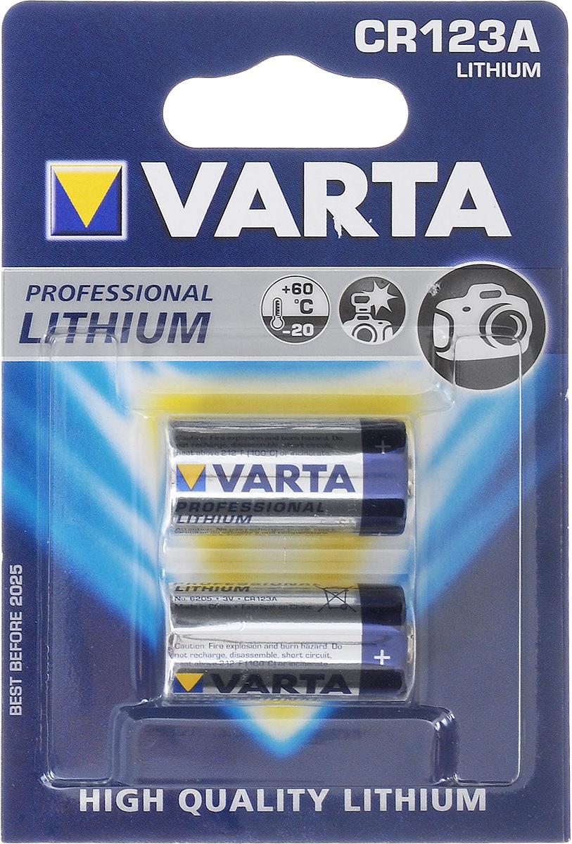 Батарейка Varta Professional Lithium, тип CR123A, 3В, 2 шт6205Мощная литиевая батарейка Varta Professional Lithium предназначена для цифровых, фото и аналоговых камер с более высокой производительностью для создания большого количества фотографий.