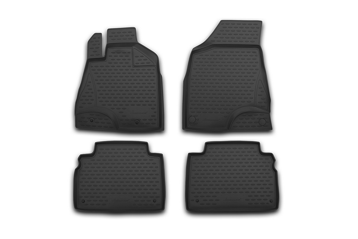 Набор автомобильных 3D-ковриков Novline-Autofamily для Honda Accord, 2013->, в салон, 4 штNLC.3D.18.29.210kНабор Novline-Autofamily состоит из 4 ковриков, изготовленных из полиуретана.Основная функция ковров - защита салона автомобиля от загрязнения и влаги. Это достигается за счет высоких бортов, перемычки на тоннель заднего ряда сидений, элементов формы и текстуры, свойств материала, а также запатентованной технологией 3D-перемычки в зоне отдыха ноги водителя, что обеспечивает дополнительную защиту, сохраняя салон автомобиля в первозданном виде.Материал, из которого сделаны коврики, обладает антискользящими свойствами. Для фиксации ковров в салоне автомобиля в комплекте с ними используются специальные крепежи. Форма передней части водительского ковра, уходящая под педаль акселератора, исключает нештатное заедание педалей.Набор подходит для Honda Accord с 2013 года выпуска.