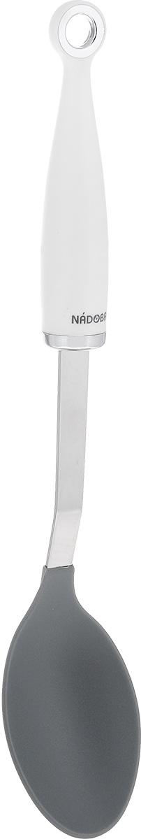 """Кулинарная ложка Nadoba """"Bela"""" станет полезным помощником у вас на кухне. Рабочая поверхность изделия выполнена из нейлона, который выдерживает температуру нагрева до 210°С.  Ручка прибора выполнена в уникальном дизайне из нержавеющей стали и пластика и снабжена отверстием для подвешивания на крючок. Ложка безопасна для посуды с антипригарным покрытием.  Можно мыть в посудомоечной машине.  Длина ложки: 35 см. Размер рабочей поверхности: 6,5 х 10 см."""