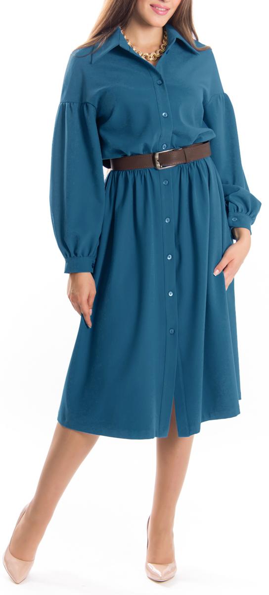 Платье Lautus, цвет: голубой. 657. Размер 52657Элегантное платье Lautus изготовлено из высококачественного эластичного материала с добавлением вискозы. Такое платье обеспечит вам комфорт и удобство при носке.Модель с отложным воротником и длинными рукавами выгодно подчеркнет все достоинства вашей фигуры благодаря приталенному силуэту. Платье застегивается на пуговицы спереди. Манжеты рукавов также застегиваются на пуговицы. Изысканное платье-макси с пришивной юбкой создаст обворожительный и неповторимый образ.Это модное и удобное платье станет превосходным дополнением к вашему гардеробу, оно подарит вам удобство и поможет вам подчеркнуть свой вкус и неповторимый стиль.