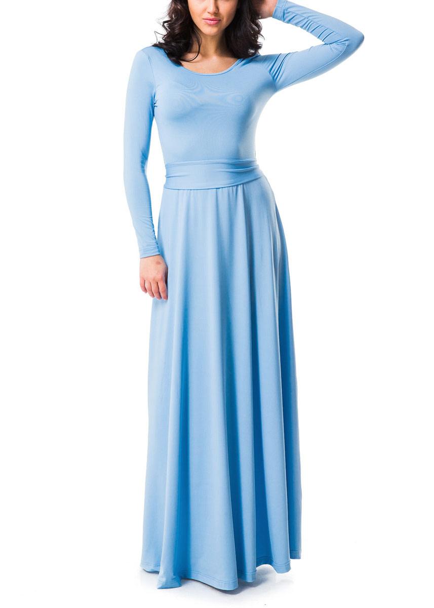 Платье Mondigo, цвет: голубой. 7003. Размер 467003Элегантное платье Mondigo в пол придаст очарование и женственность своей обладательнице. Модель с отрезной талией, круглым вырезом горловины и длинными рукавами. Платье длины макси выполнено из приятной струящейся ткани- высококачественного полотна микрофибры с небольшим добавлением эластана. На спинке - глубокий V-образный вырез. На талии модель украшена изящным пояском.Изысканный наряд создаст обворожительный неповторимый образ. Приталенный силуэт подчеркивает стройность фигуры.