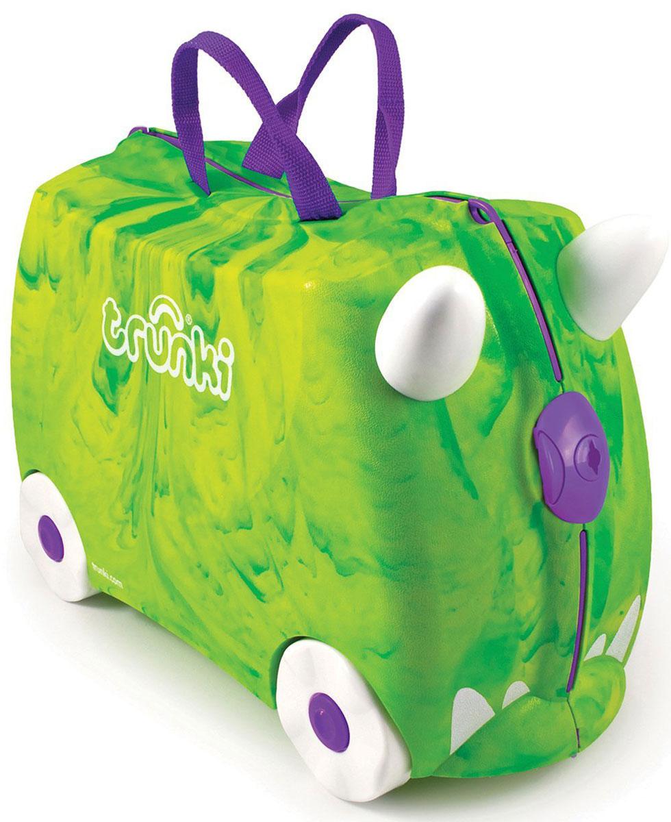 Trunki Чемодан-каталка Динозавр0066-GB01-P1Детский чемодан-каталка Trunki Динозавр - оригинальный чемодан на колесах, созданный, чтобы избавить маленьких путешественников от скуки и усталости.Корпус чемодана выполнен в форме седла, чтобы маленькому наезднику было комфортно сидеть. Малыш может держаться за специальные рожки на передней части чемодана. Форма рожек специально разработана для детских ручек. Чемодан имеет 4 колеса и стабилизаторы, которые не позволят чемодану опрокинуться. Для переноски у чемодана предусмотрены 2 текстильные ручки, а также ремень через плечо, который можно использовать для буксировки чемодана. Чемодан содержит вместительное отделение с фиксирующейся Х-образной резинкой. Также в чемодане имеется длинный кармашек для мелочей. Закрывается чемодан на две защелки. Крышка чемодана плотно прилегает к основанию, уплотнитель между ними не позволит мелким предметам выпасть из него.Чемодан-каталка Trunki Динозавр поможет ребенку не заскучать во время длительных перелетов и ожидания в аэропорту.