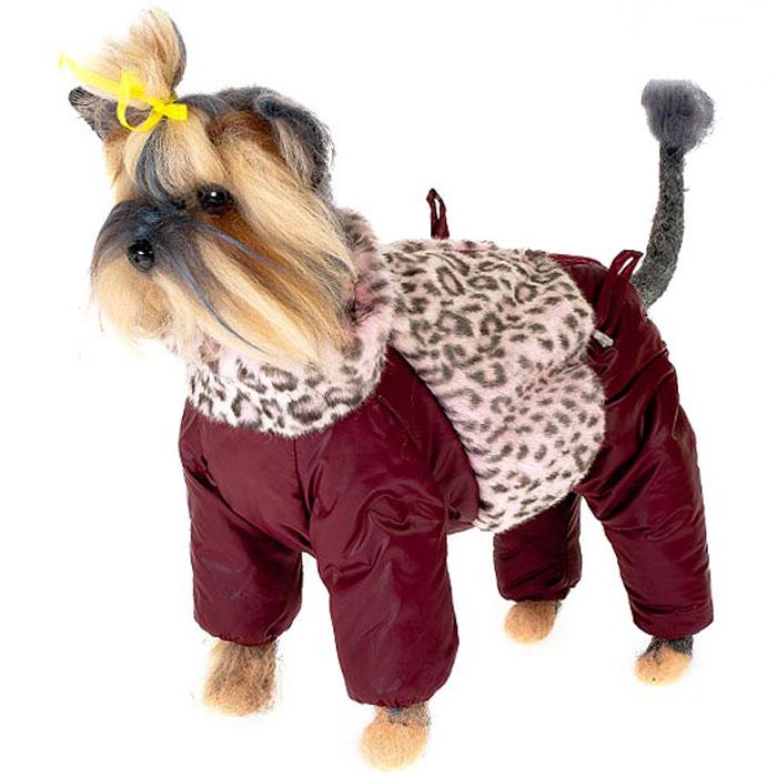 Комбинезон для собак Happy Puppy Саванна, зимний, для девочки, цвет: бордовый. Размер 1 (S)HP-150022-1Зимний комбинезон для собак Happy Puppy Саванна отлично подойдет для прогулок в зимнее время года.Комбинезон изготовлен из полиэстера, защищающего от ветра и снега, а на подкладке используется искусственный мех, который обеспечивает отличный воздухообмен. Комбинезон застегивается на молнию, благодаря чему его легко надевать и снимать. Высокий ворот изделия выполнен из искусственного меха. Низ рукавов и брючин оснащен внутренними резинками, которые мягко обхватывают лапки, не позволяя просачиваться холодному воздуху. На пояснице комбинезон затягивается на шнурок-кулиску. Изделие декорировано вставкой из искусственного меха, оформленного под окрас барса.Благодаря такому комбинезону простуда не грозит вашему питомцу и он сможет испытать не сравнимое удовольствие от снежных игр и забав.