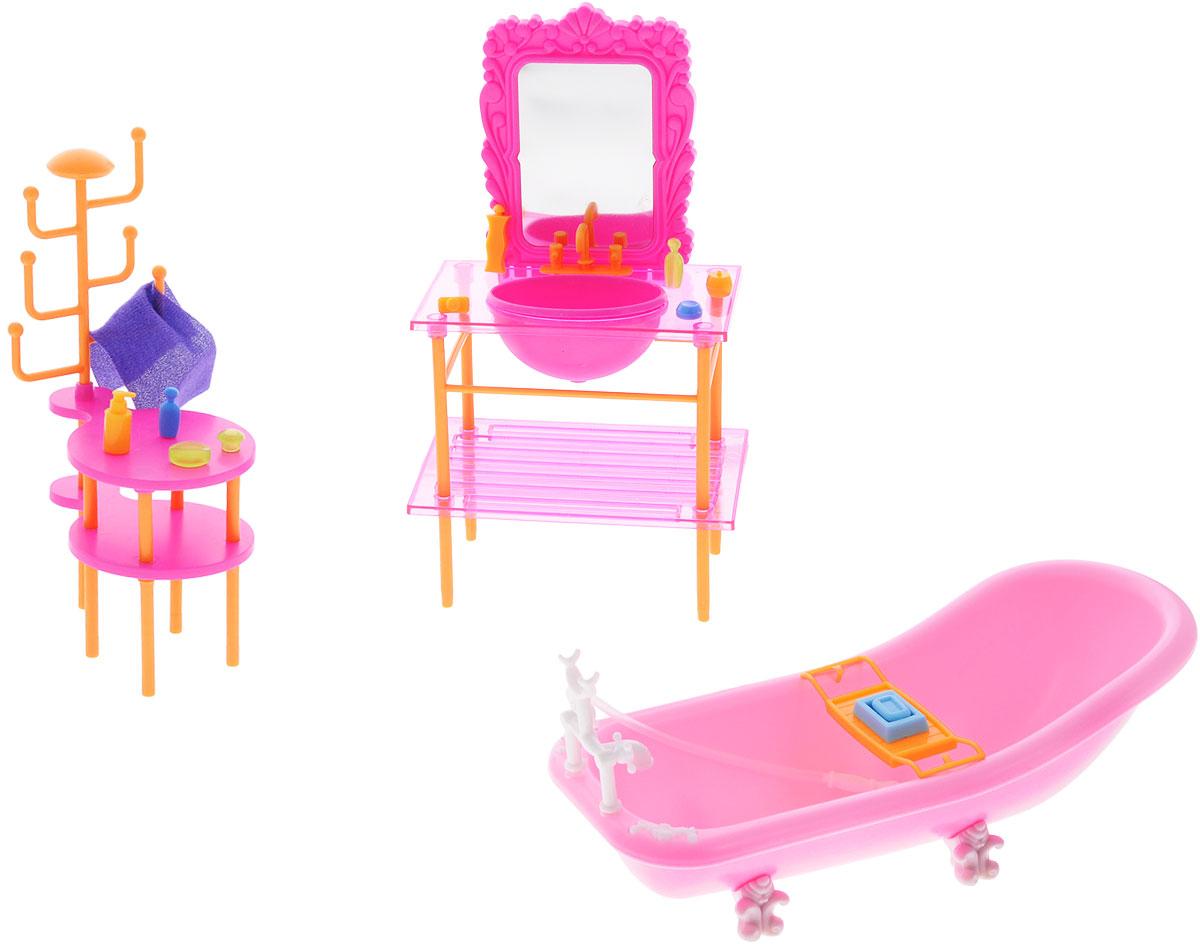 1TOY Набор мебели для кукол Красотка Ванная кукольные домики 1toy дом для кукол с мебелью 2 секции 28 деталей 1toy красотка