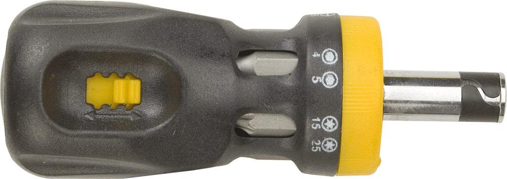 Отвертка Topex с трещоткой, 12 насадок39D517Отвертка Торех с трещоткой предназначена для монтажа/демонтажа резьбовых соединений. В комплект входят 12 двусторонних бит, котрые хранятся в корпусе отвертки. Для каждого бита имеется ячейка с размером. Характеристики: Материал: пластик, металл. Длина отвертки: 2,5 см. Длина ручки: 7,5 см. Размеры упаковки:10 см х 3,5 см х 3,5 см.