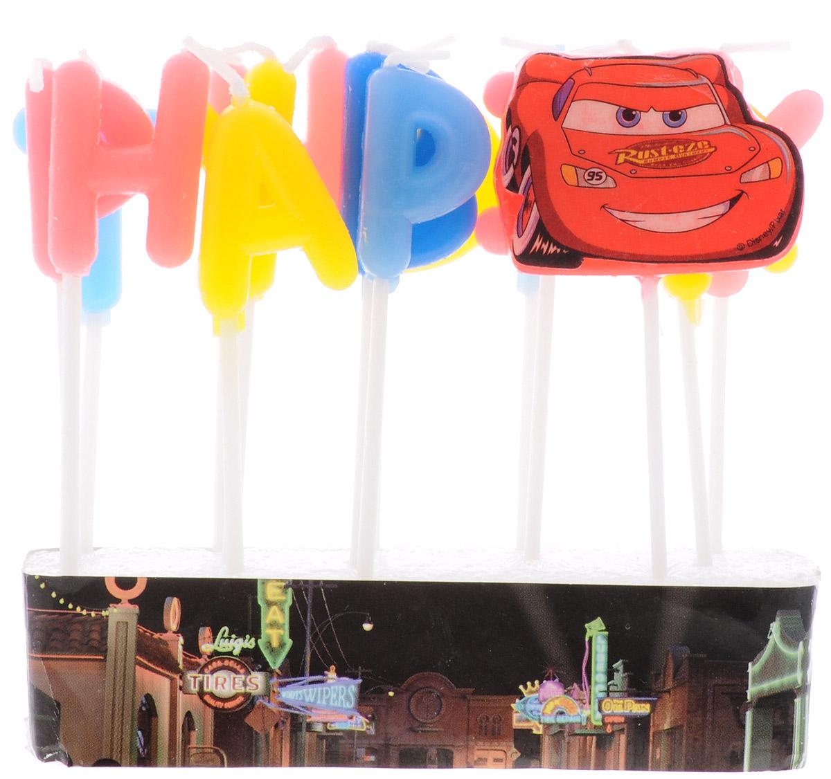 Procos Свечи-буквы для торта детские Тачки Happy Birthday